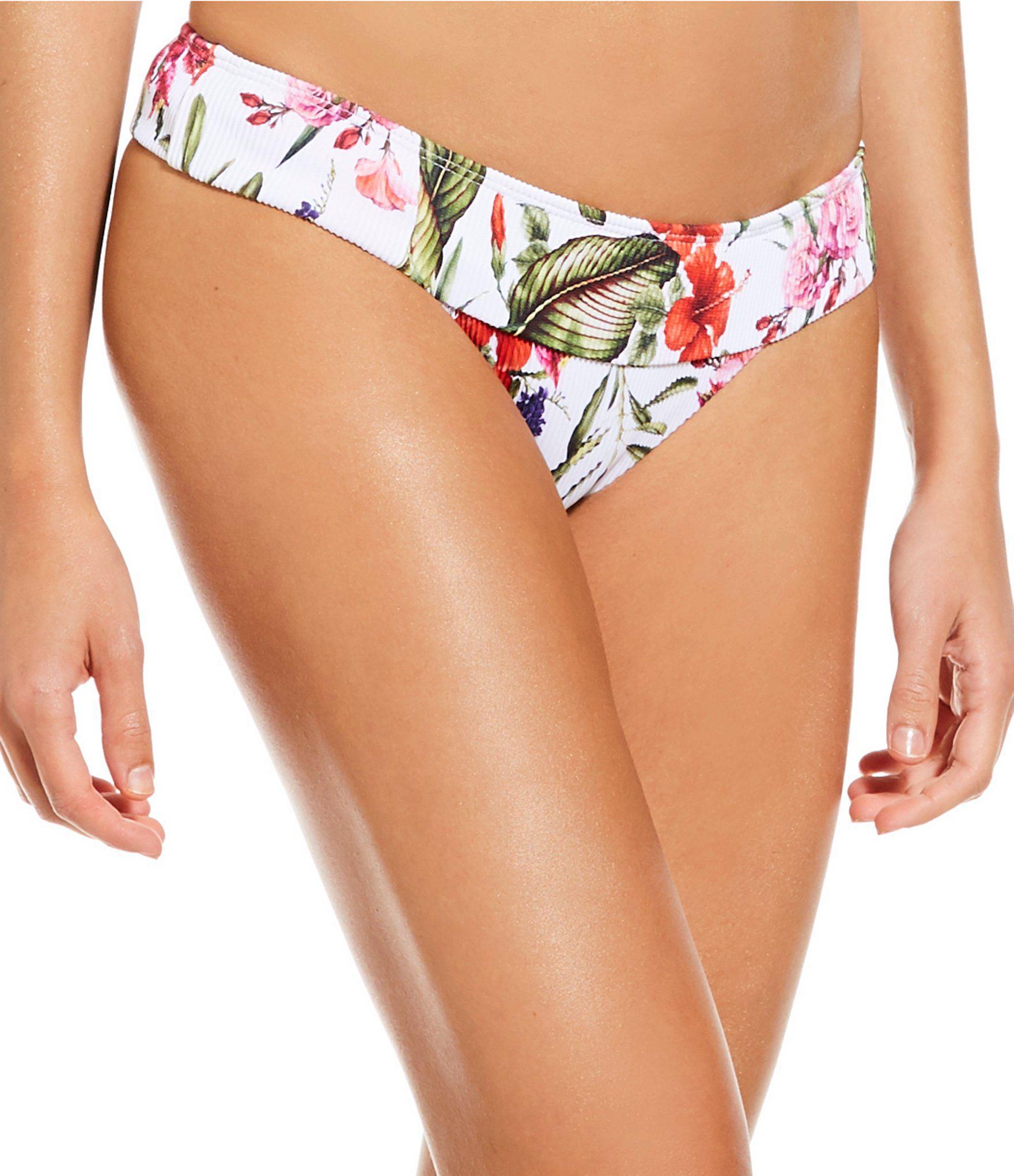8e26e9f08ba4a Gianni Bini Botanical Babe Ribbed High Leg Cheeky Bottom in White - Lyst