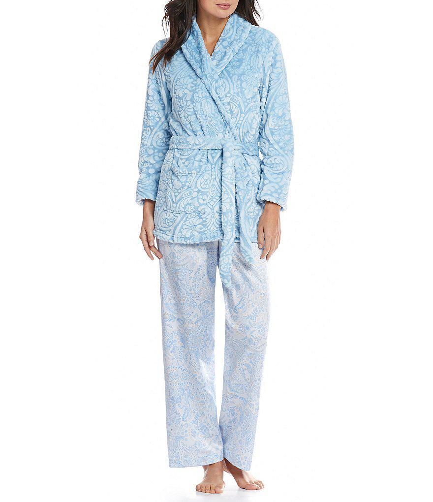 Miss elaine Paisley Brushedback Satin Pajamas in Pink Lyst