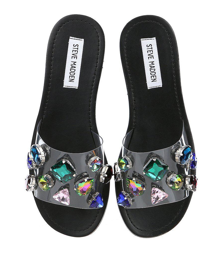 a5603c4342e Steve Madden Black Rosalyn Transparent Jewel Slip-on Sandals