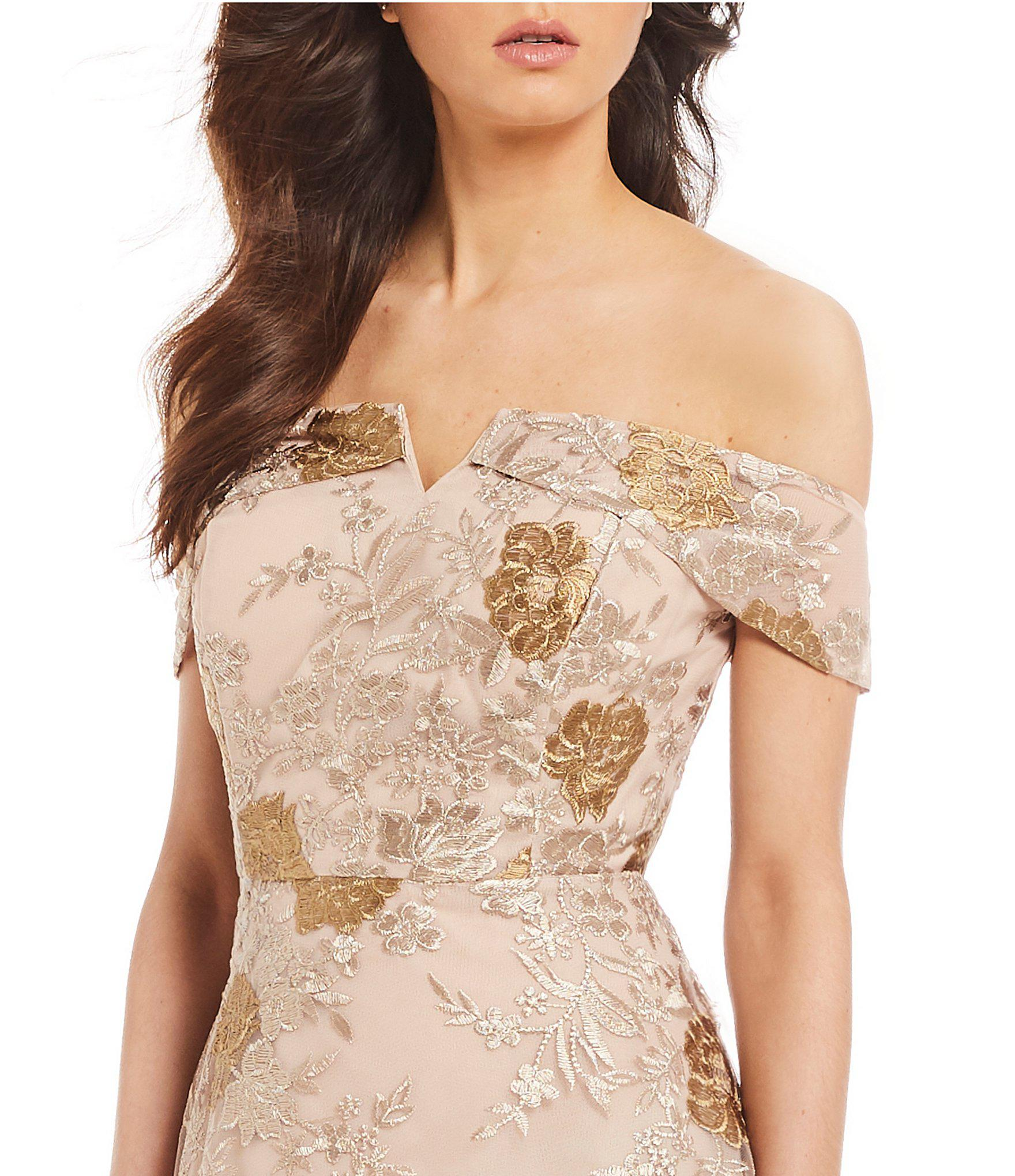 201c3f8e78f7 Lyst - Calvin Klein Floral Embroidered Off-the-shoulder A-line Dress ...