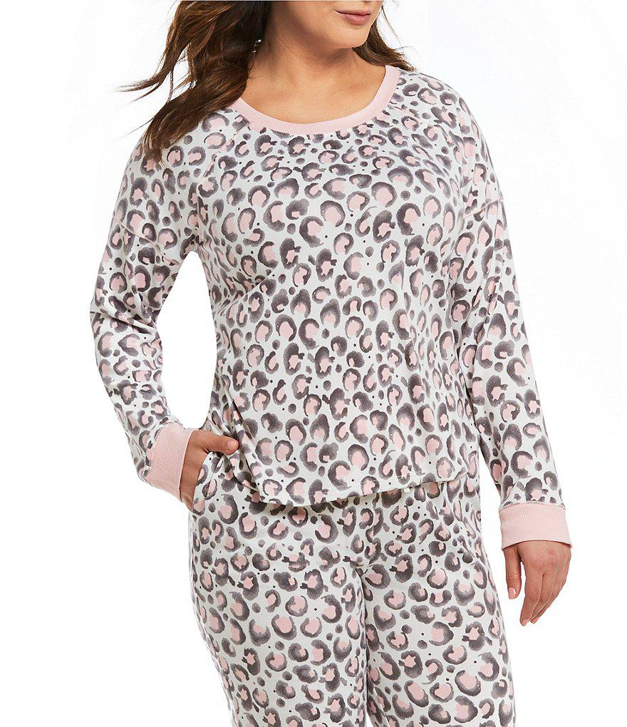 Lyst - Kensie Plus Animal-printed Jersey Knit Sleep Top in White 51ecc8f8d