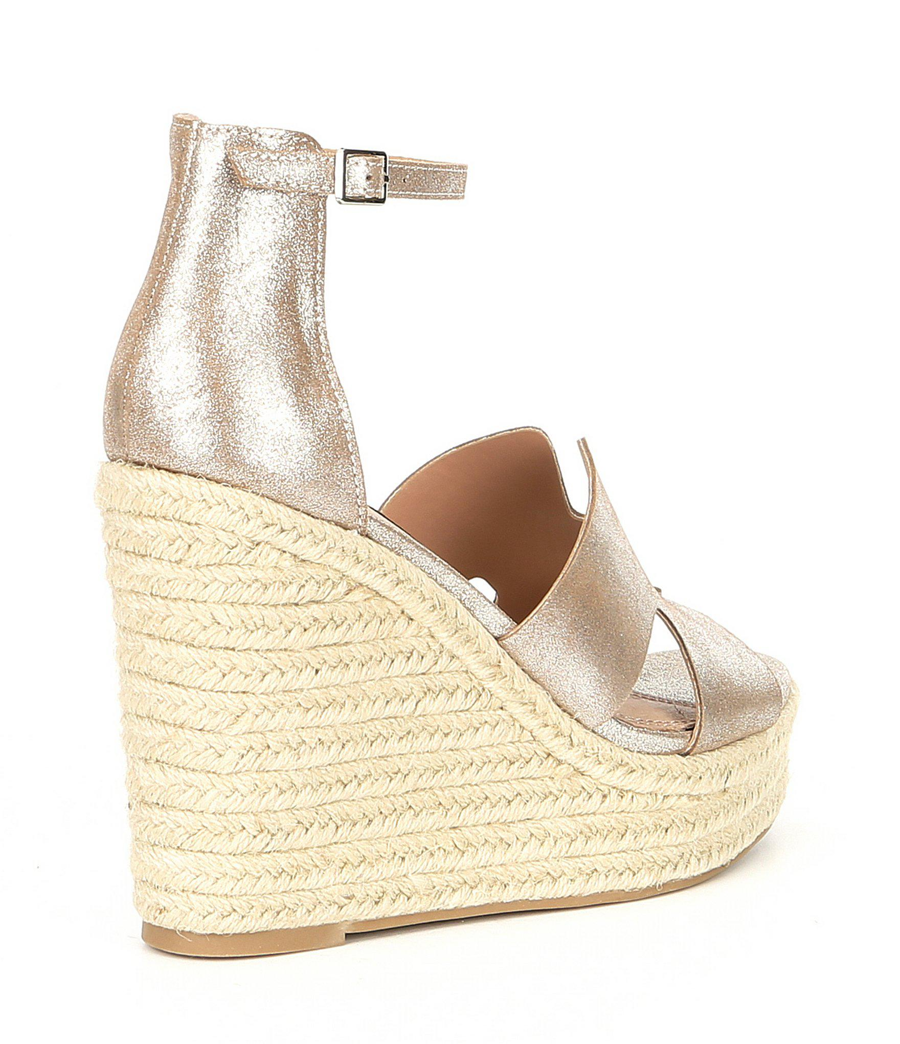a5cf4039dac Steve Madden - Metallic Steven By Sirena Leather Espadrille Wedge Sandals -  Lyst. View fullscreen