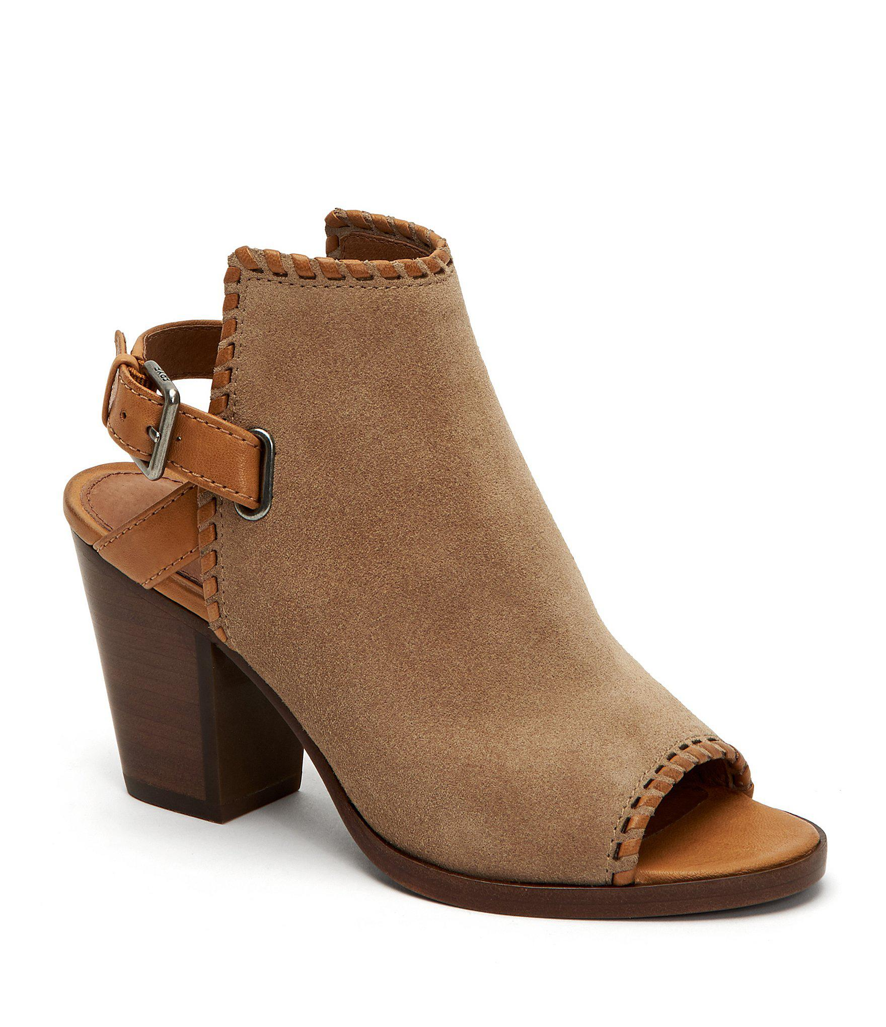 9562bfb3247 Lyst - Frye Dani Shield Suede Whipstitch Sling Shooties in Natural