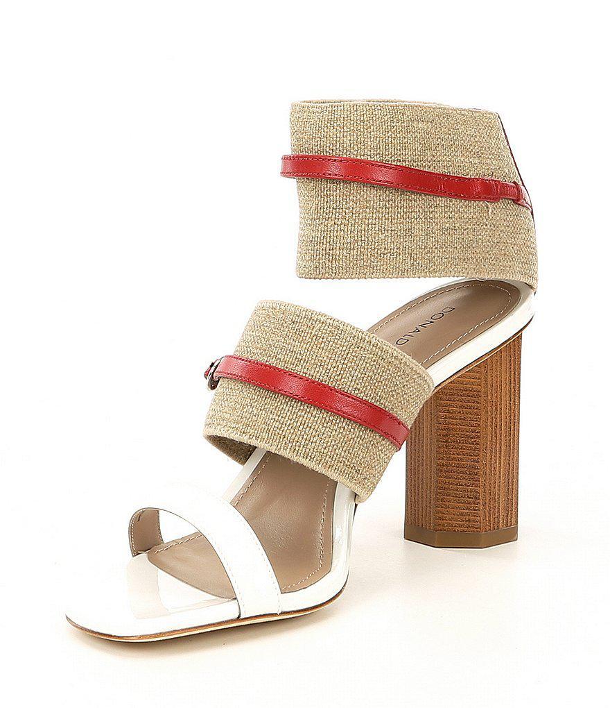 Donald Pliner Edie Linen Block Heel Sandals rteeStLMA