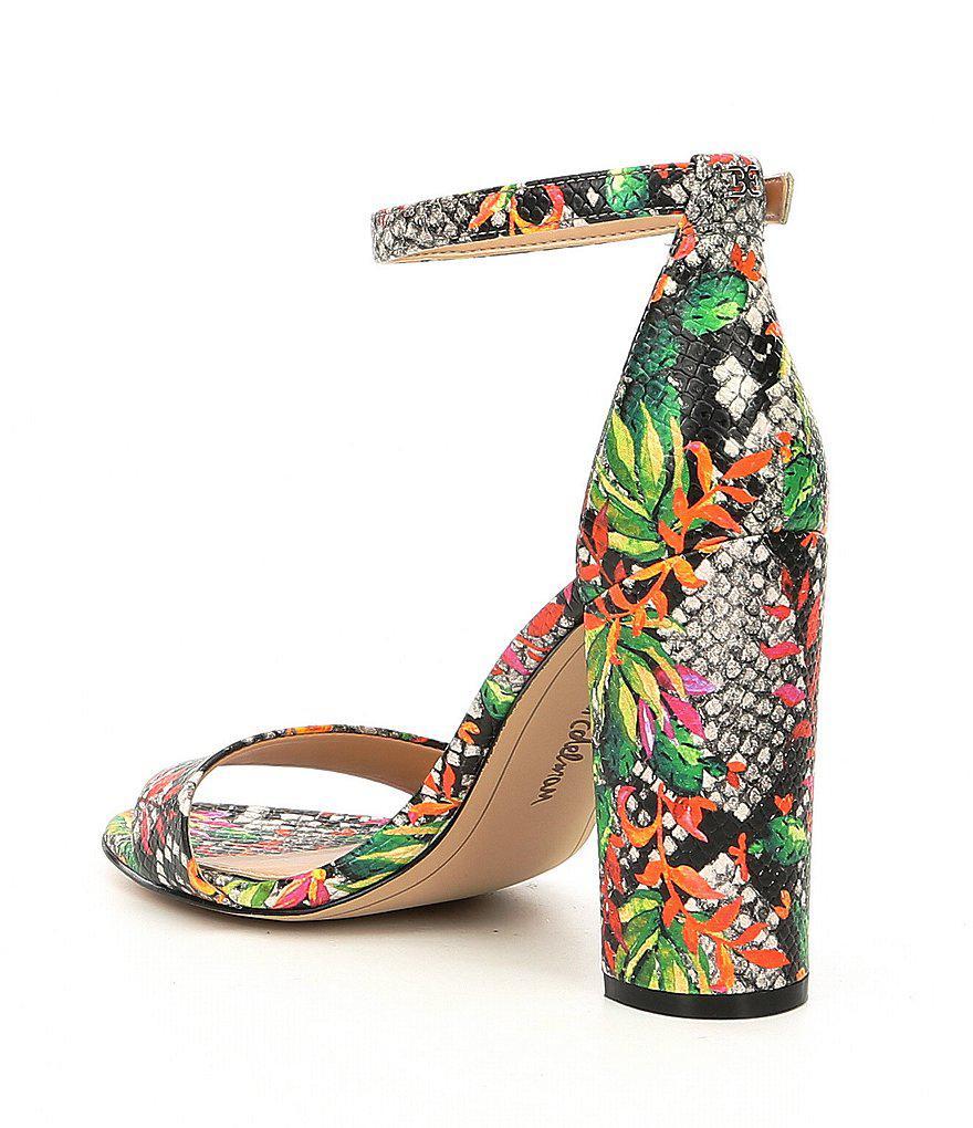 Yaro Blooming Cactus Ankle Strap Block Heel Dress Sandals 1KXOsQMJLf