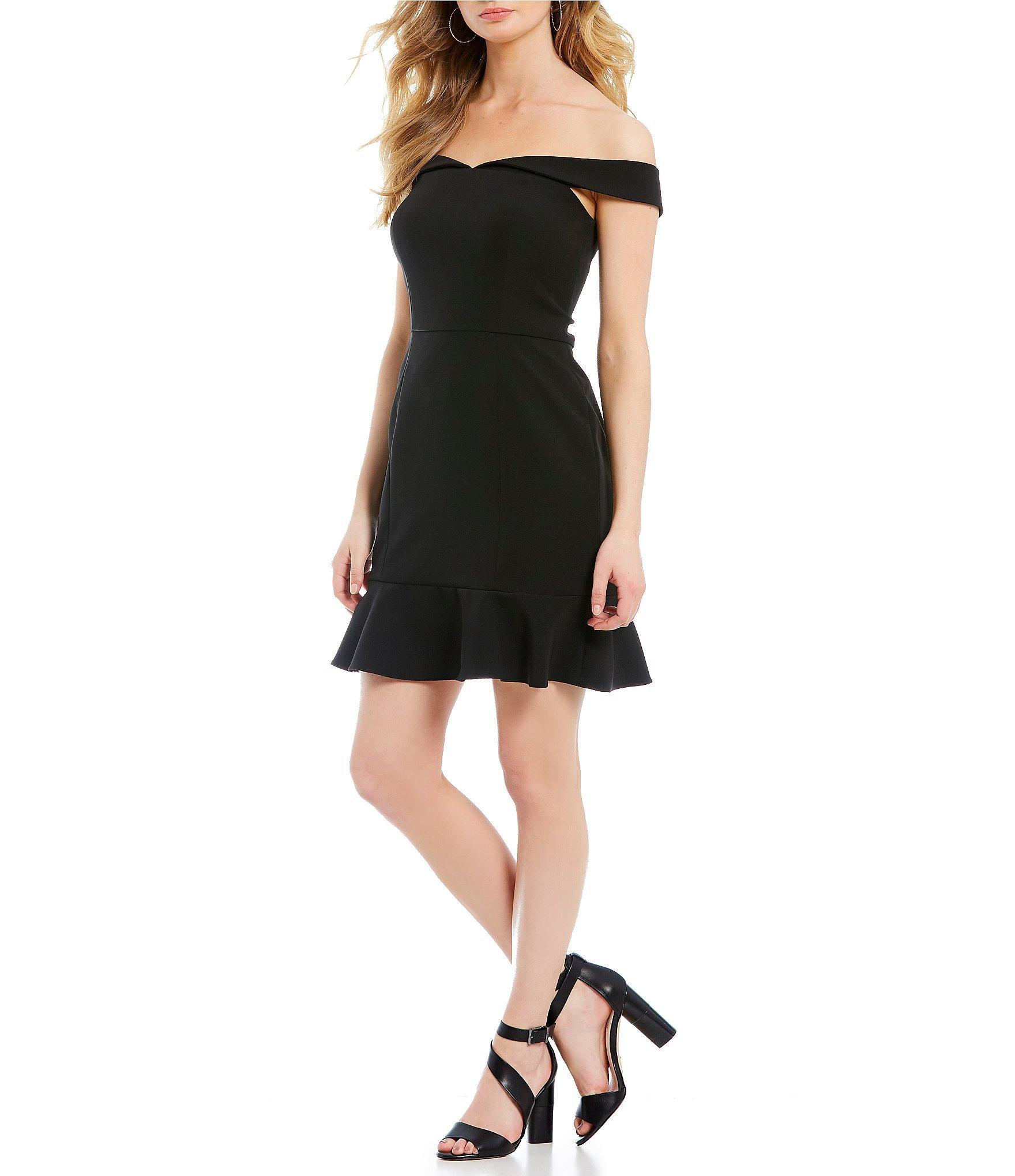 46e47530d2 Lyst - Gianni Bini Suze Off-the-shoulder Ruffle Hem Dress in Black