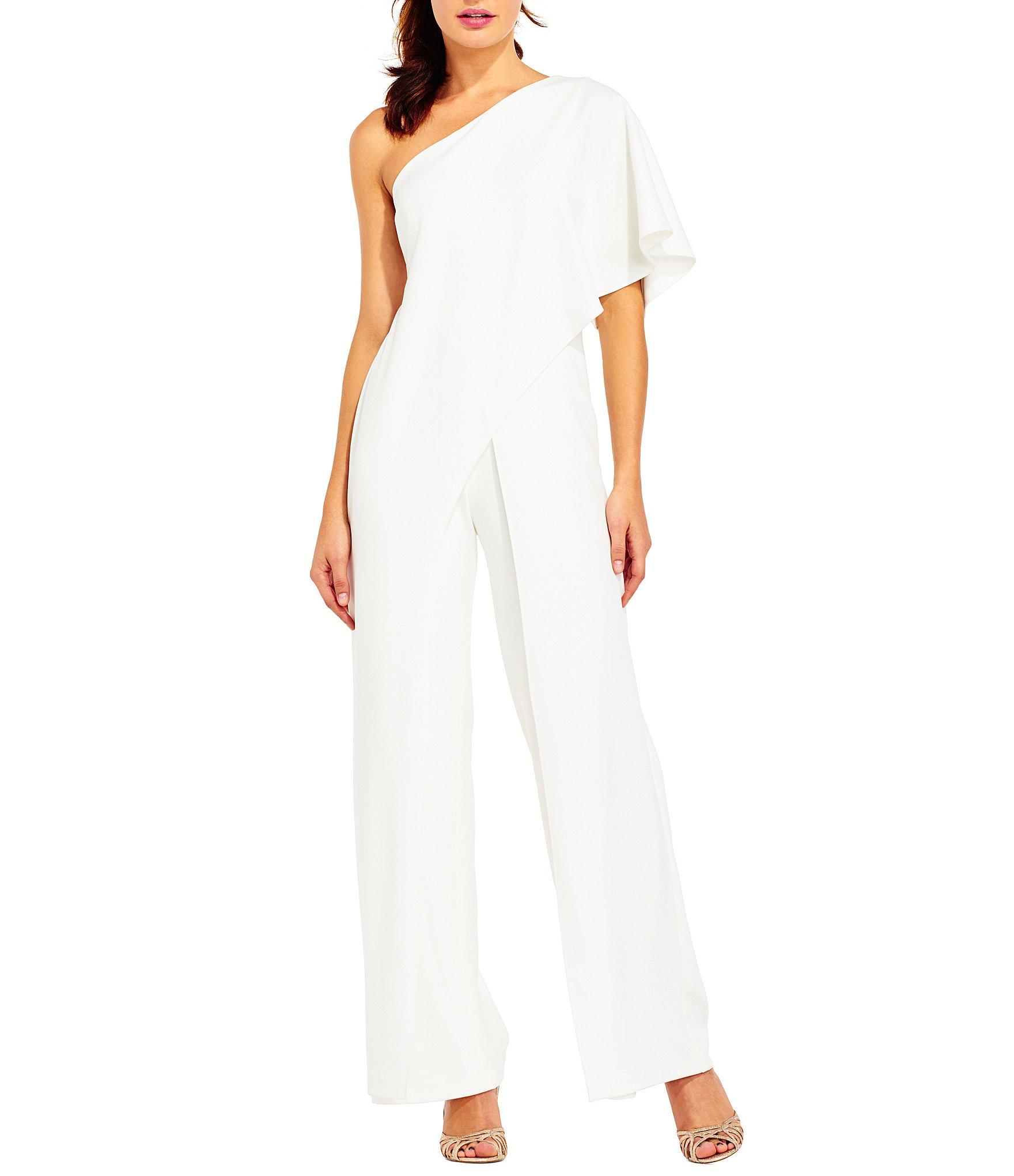 77f3b4a1981 Lyst - Adrianna Papell Crepe One Shoulder Jumpsuit in White