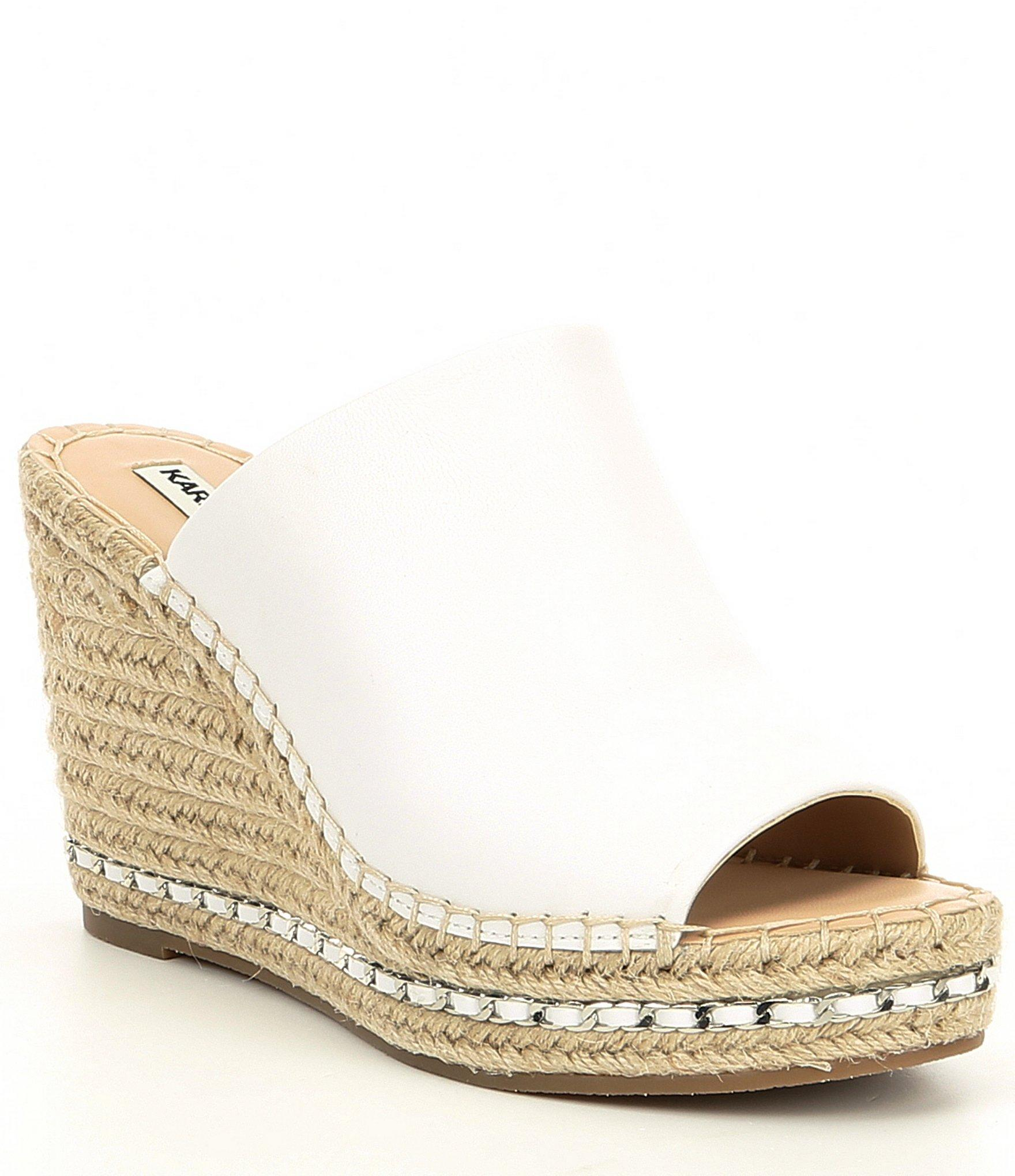 1d7fc17ce2 Lyst - Karl Lagerfeld Carina Leather Espadrille Wedges in White