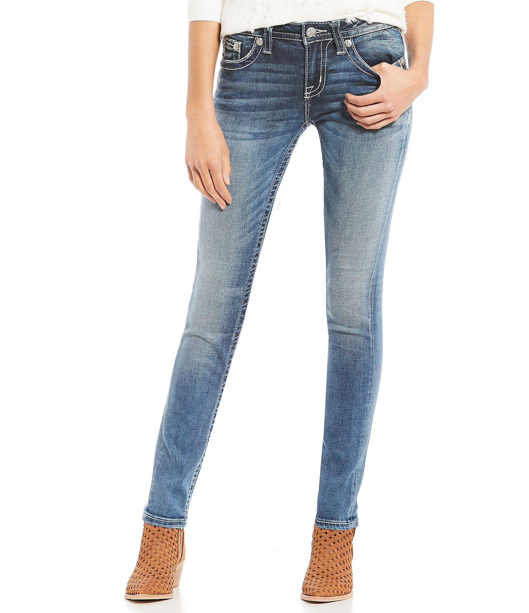 8ae5d6db333 Lyst - Miss Me Flower Wing Pocket Skinny Jeans in Blue