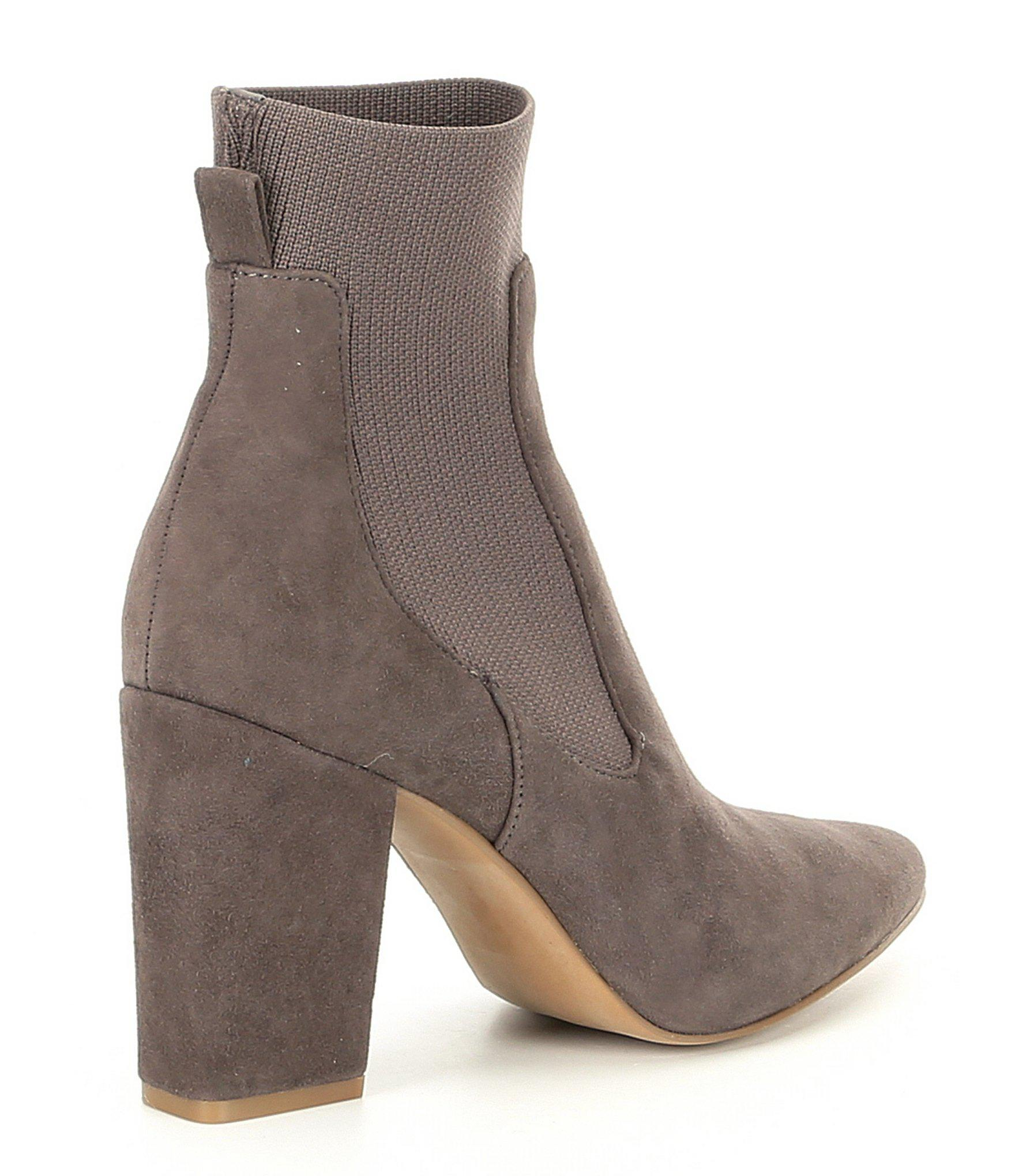 34323163138 Lyst - Steve Madden Richter Suede Block Heel Booties in Gray