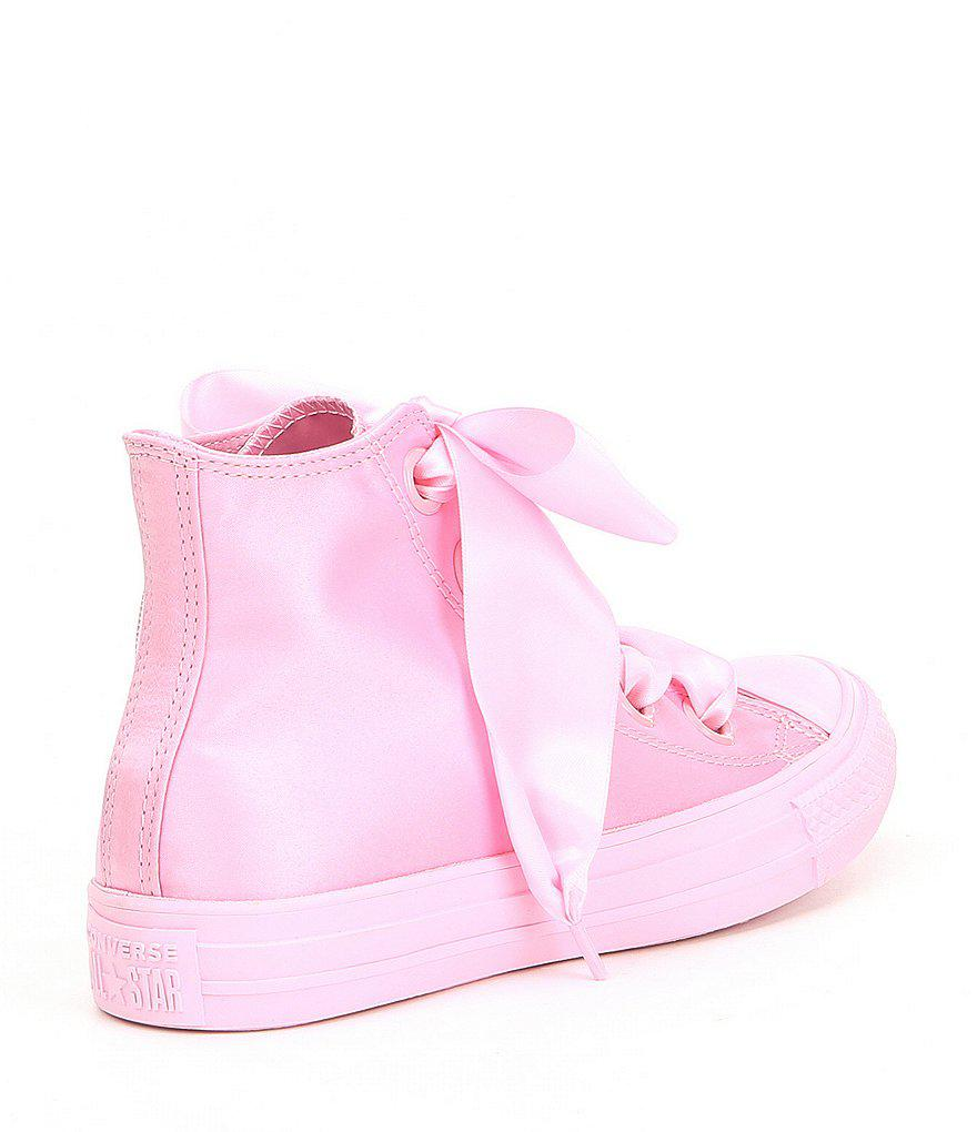 Big Eyelets Satin High Top Sneakers