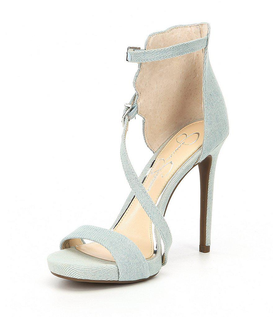 Jessica Simpson Reesa Rose Embroidery Strappy Dress Sandals mochjG