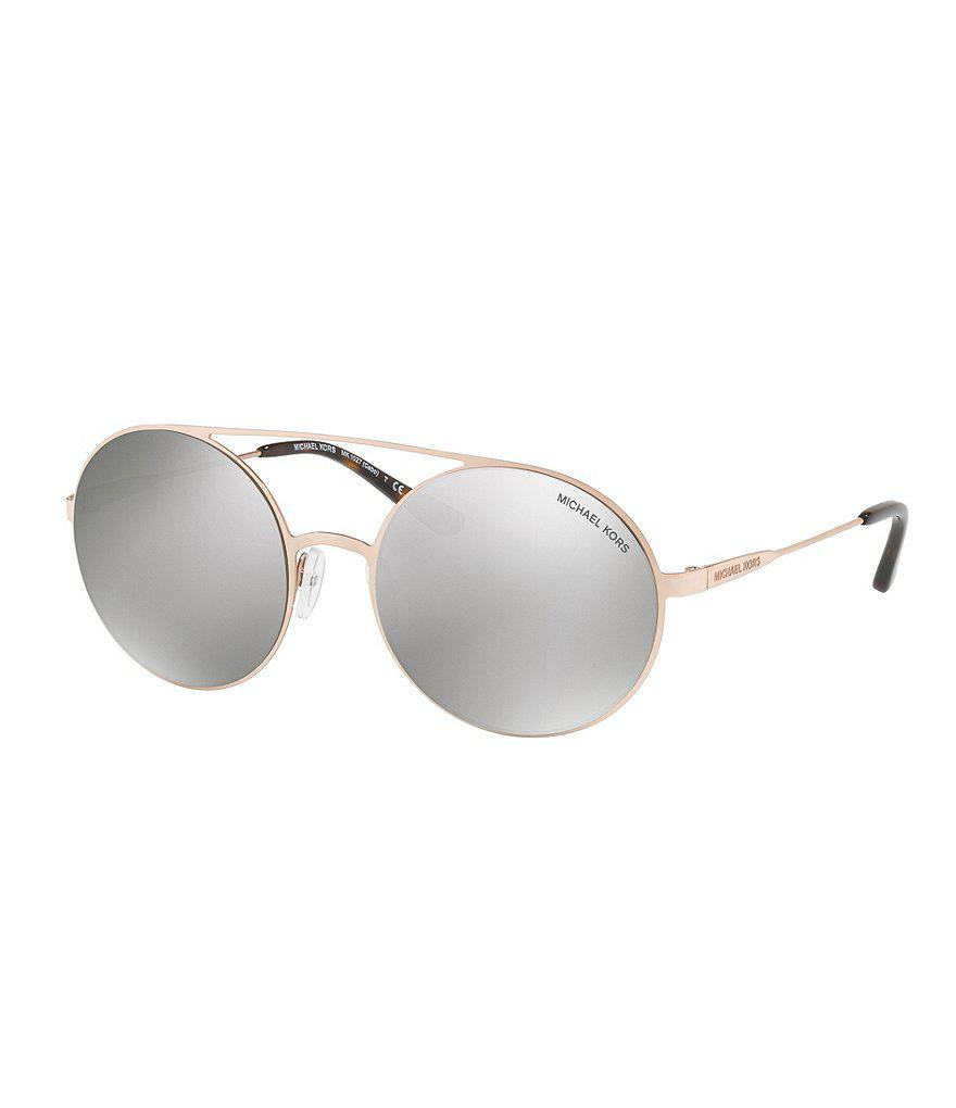 Lyst - Michael Kors Cabo Round Flash mirror Sunglasses in Metallic 66b0b667af