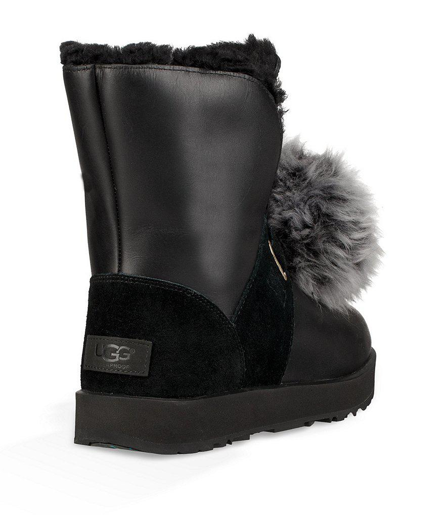 92bf40b14c9 Ugg Black Isley Waterproof Leather Suede Pom Pom Boots
