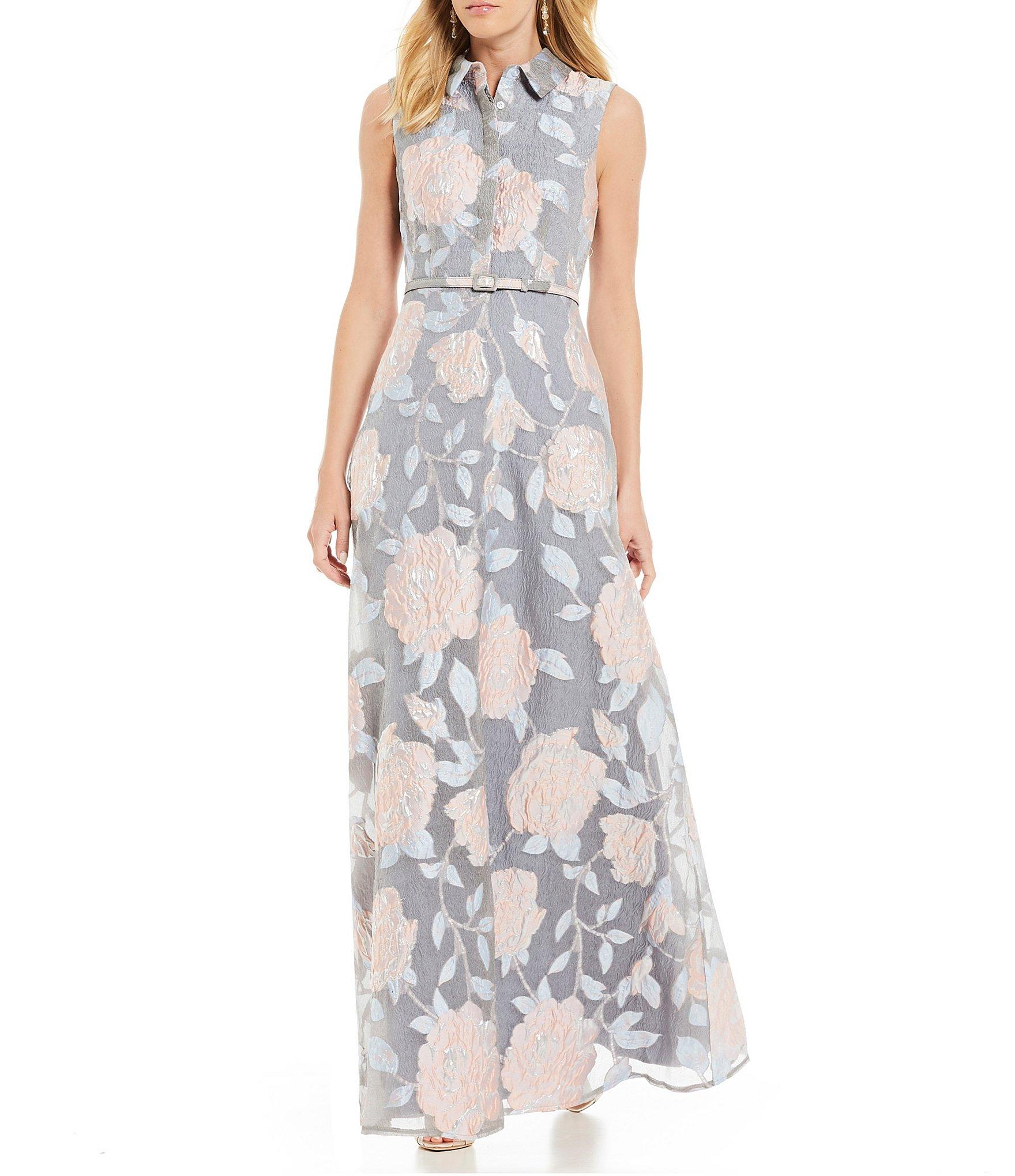 81c9c96147cd Belle By Badgley Mischka - Multicolor Darcy Floral Print Collared Button  Front Belted Gown - Lyst. View fullscreen