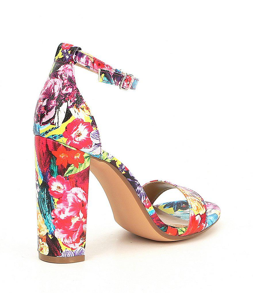 6b121433459 Steve Madden Carrson Flower Multi Ankle Strap Block Heel Dress Sandals 61UWn