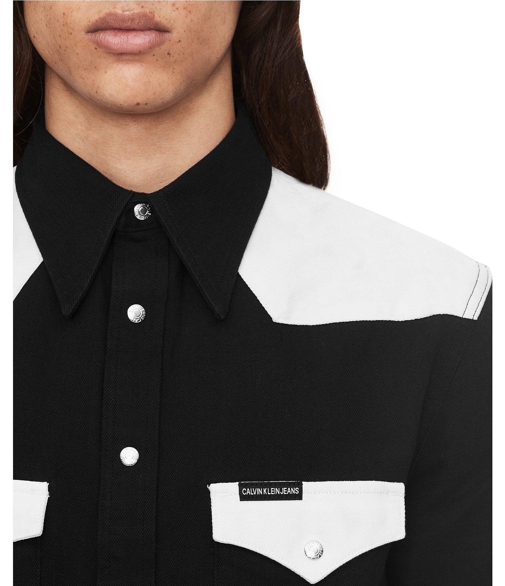 96abb8ff Calvin Klein - Black Jeans Long-sleeve Foundation Western Shirt for Men -  Lyst. View fullscreen