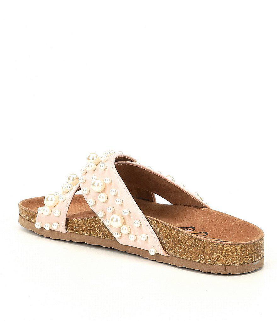 Sweet Heart Satin Pearl Slide Sandals k4mIu