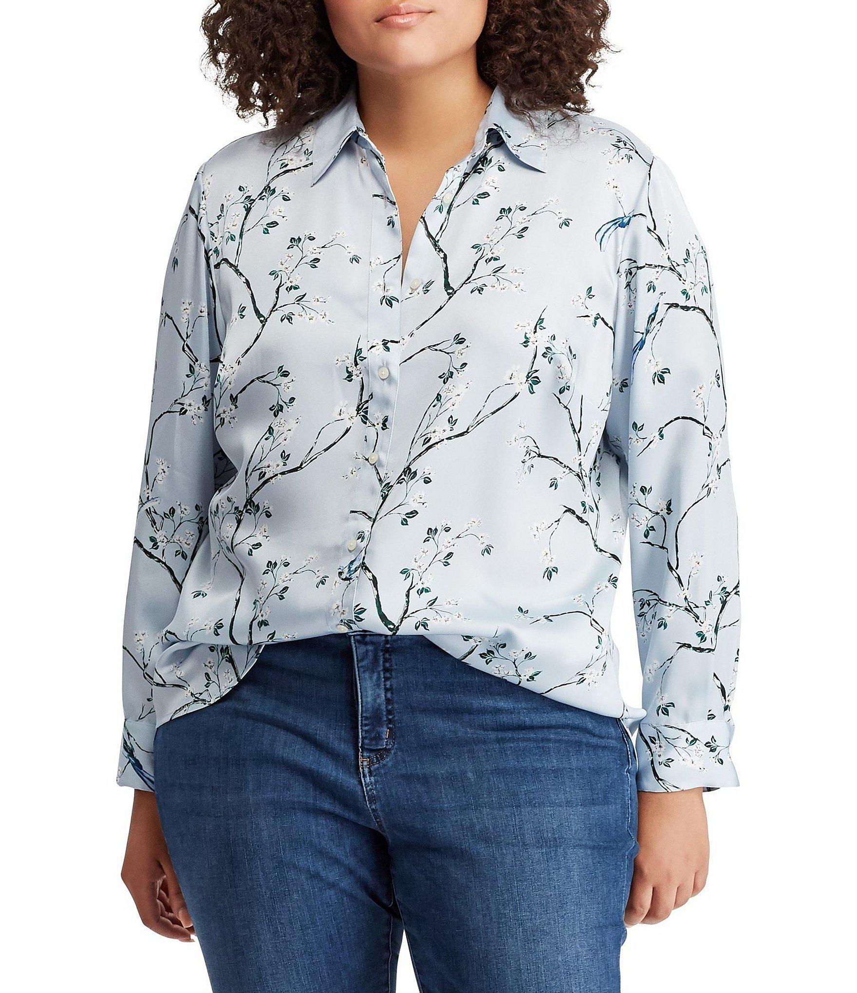 a6a459c2877 Lyst - Lauren by Ralph Lauren Plus Size Floral Print Button-down ...