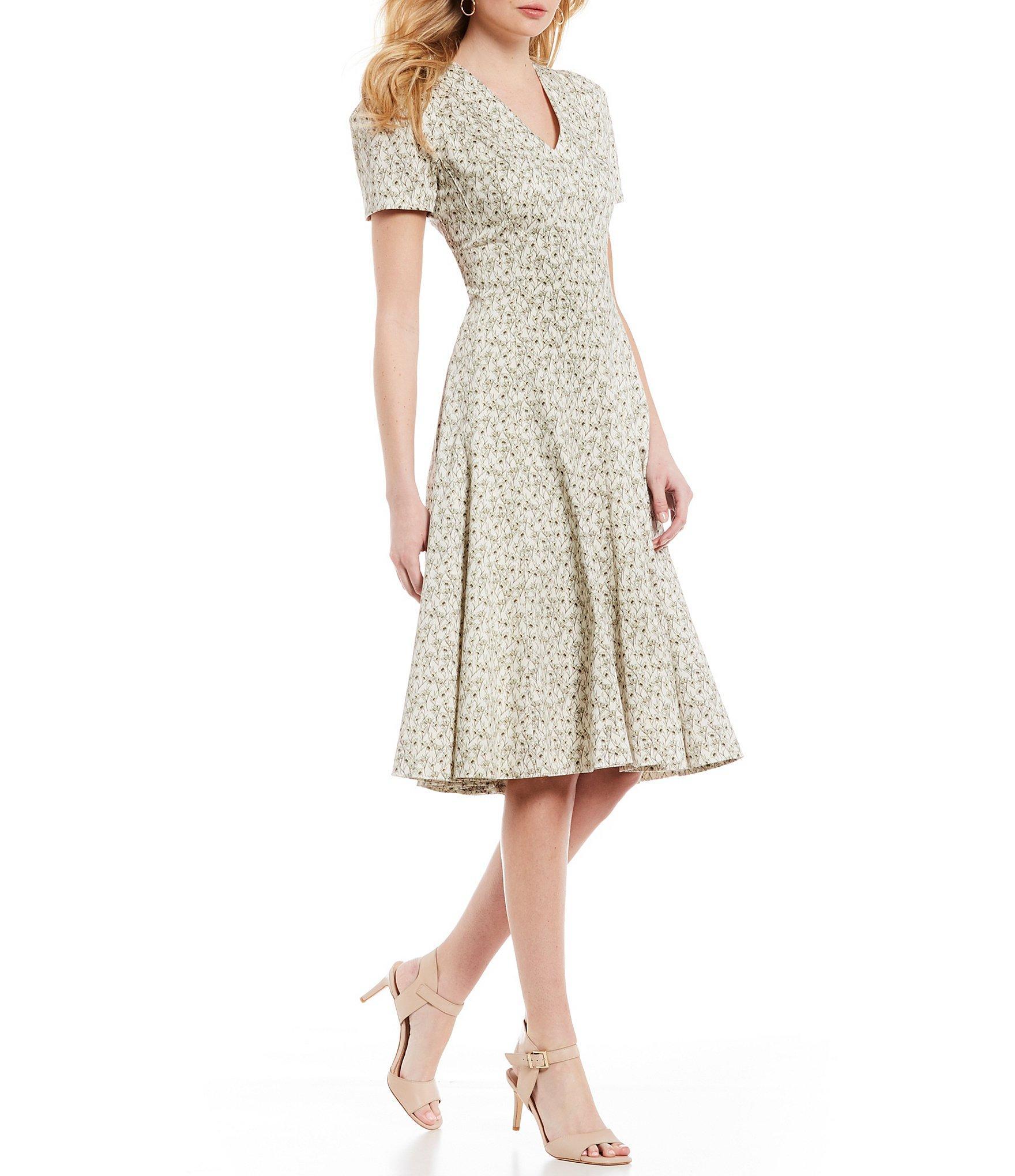 93c2833a83f Antonio Melani. Women s White June Short Sleeve Floral Print V-neck A-line Midi  Dress