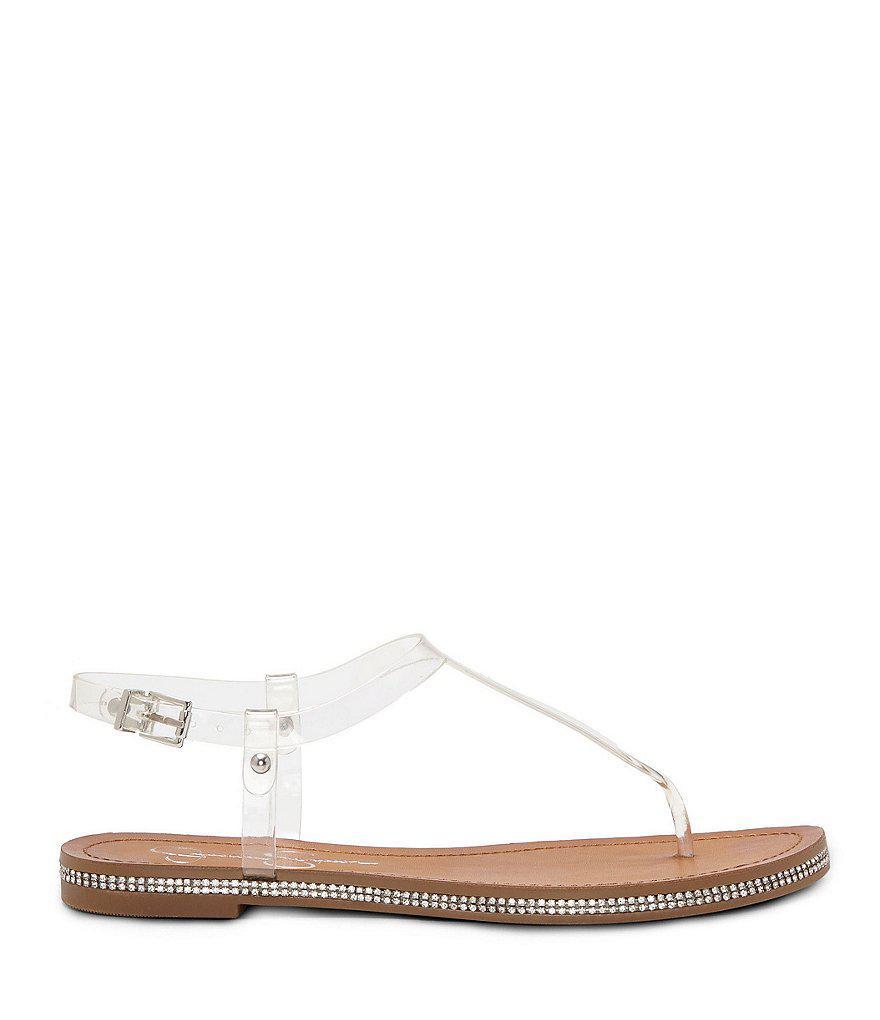 Jessica Simpson Brimah Transparent Vinyl Rhinestone Trimmed T-Strap Thong Sandals BUeo89Aw