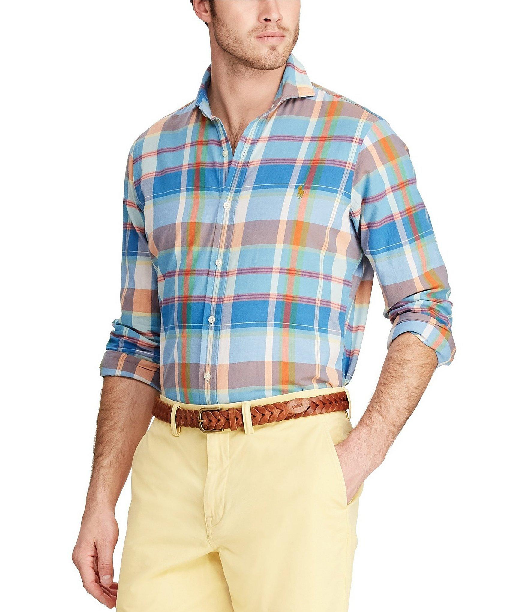 7cd33cdbf Polo Ralph Lauren Classic Fit Button - Down Madras Shirt in Blue for ...