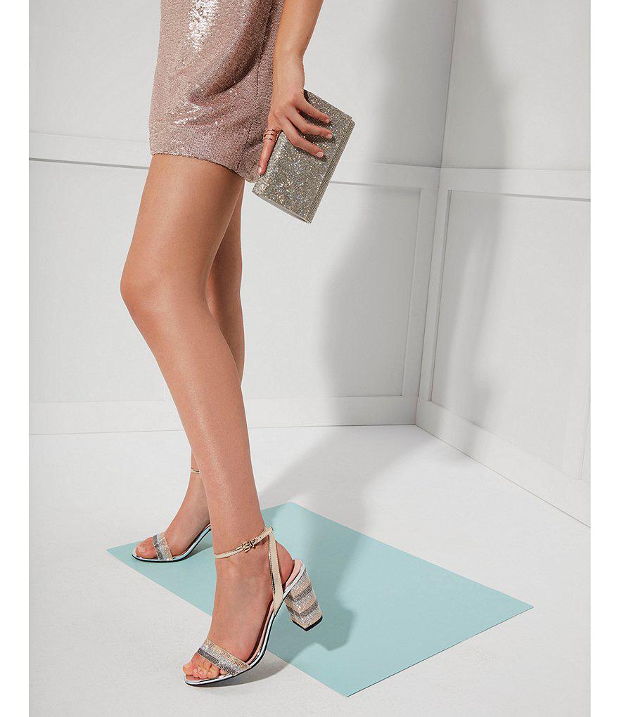 ALDO Carerith Colorblock Stripe Bling Block Heel Dress Sandals mX0fsw