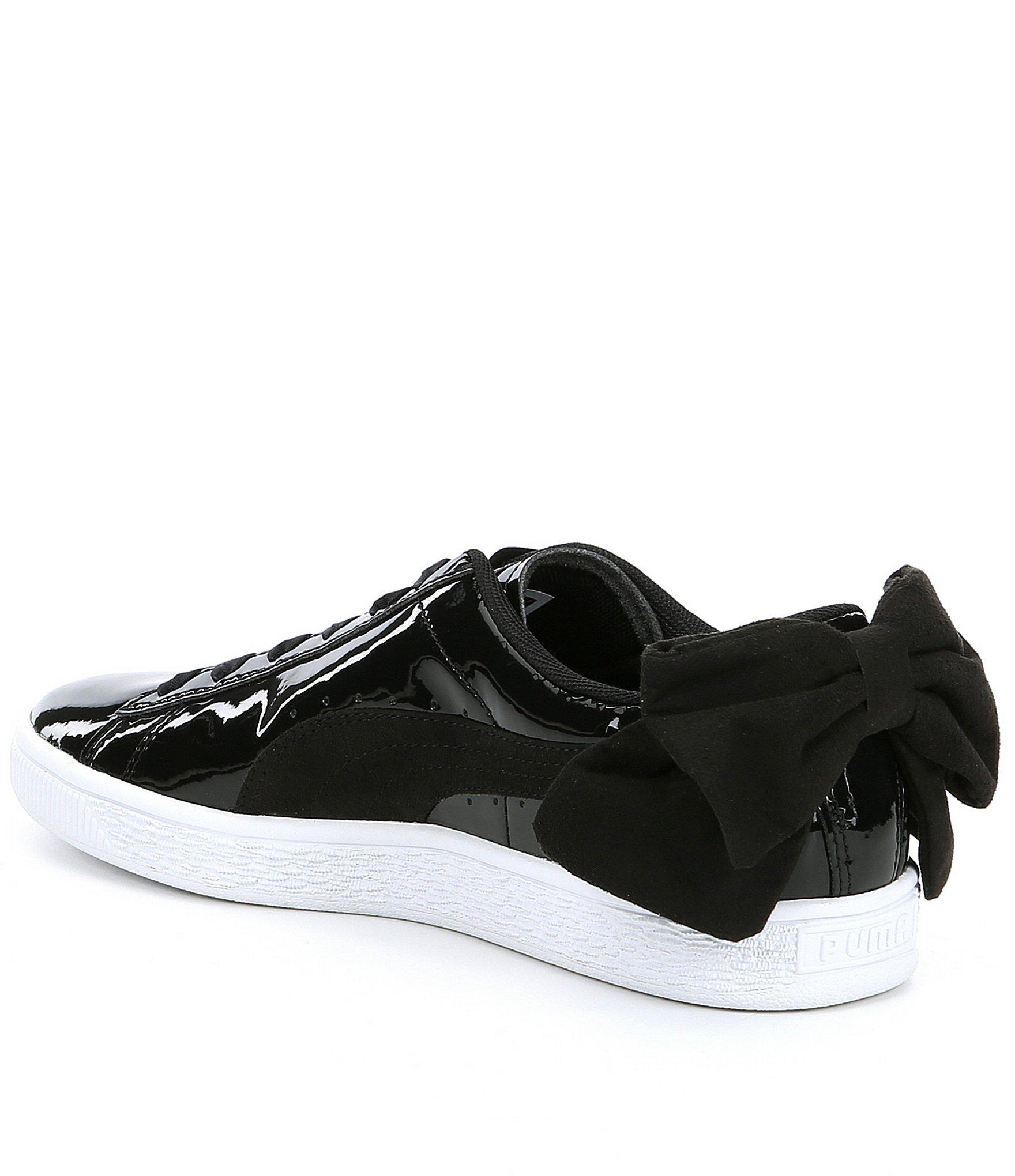 b233a97c98fcaa Lyst - PUMA Basket Bow Patent Leather Sb Sneakers in Black