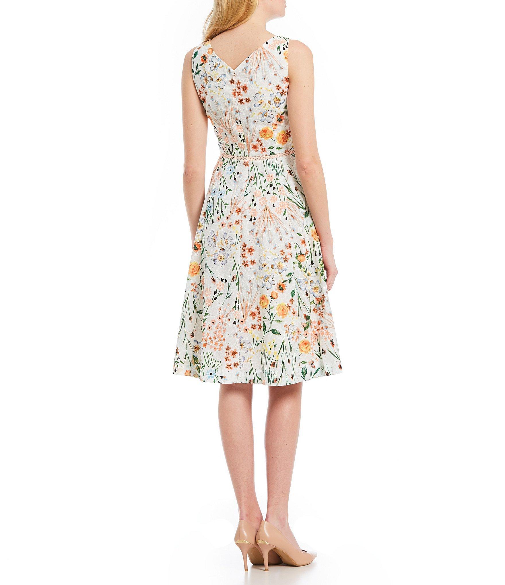 0514667b82c Calvin Klein - Multicolor Floral Lace A-line Dress - Lyst. View fullscreen
