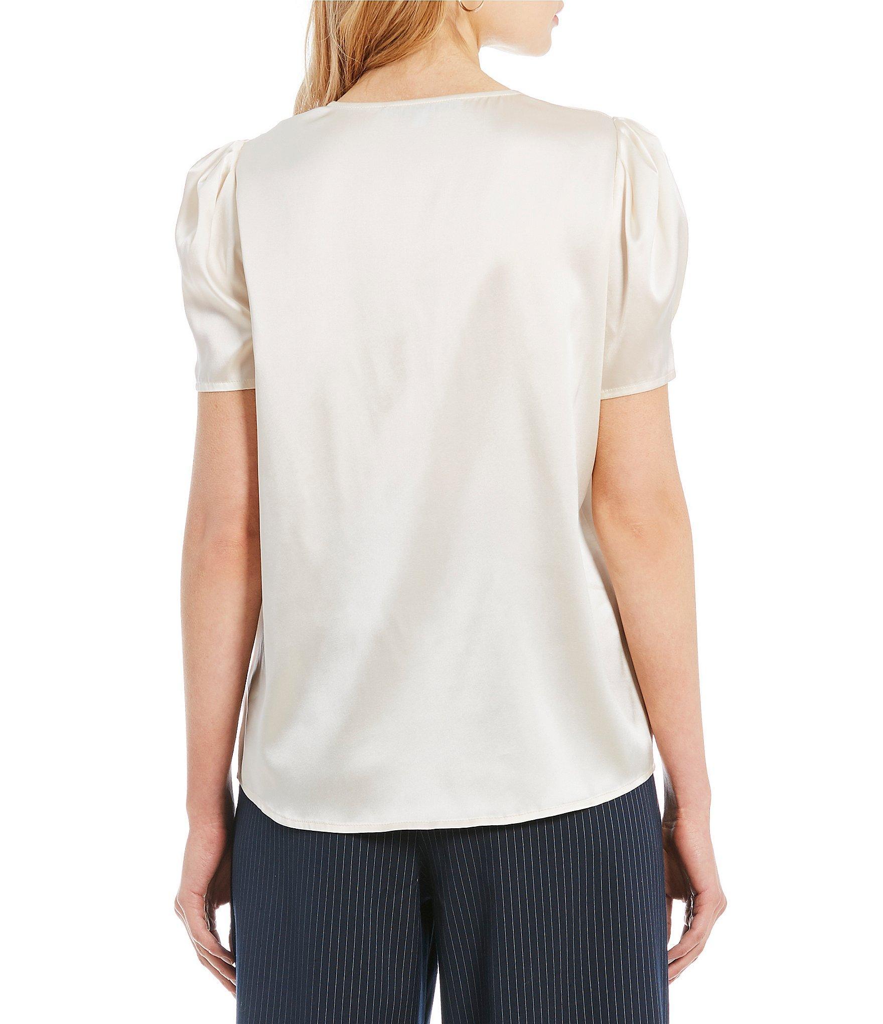 4ead5e51ba633 Antonio Melani - Multicolor Paula V-neck Puff Sleeve Button Front Blouse -  Lyst. View fullscreen