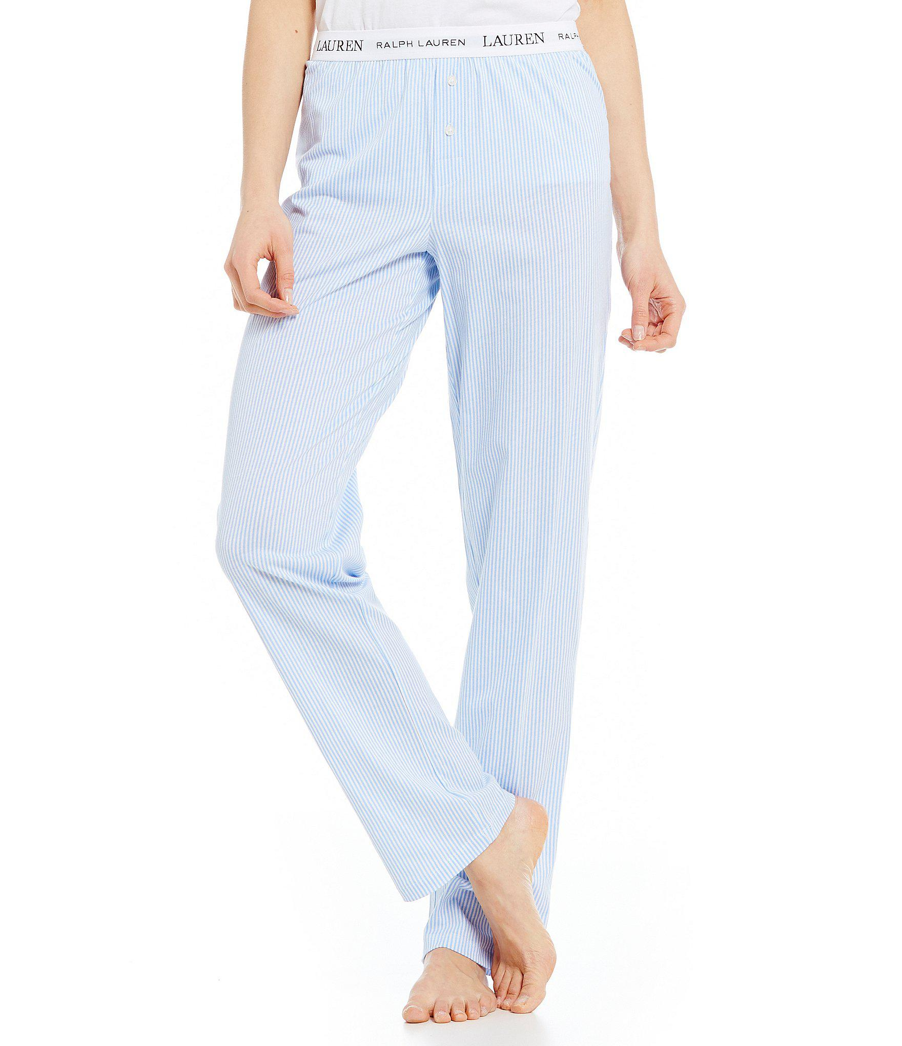 76a732107 Lyst - Lauren by Ralph Lauren Striped Logo Band Sleep Pants in Blue