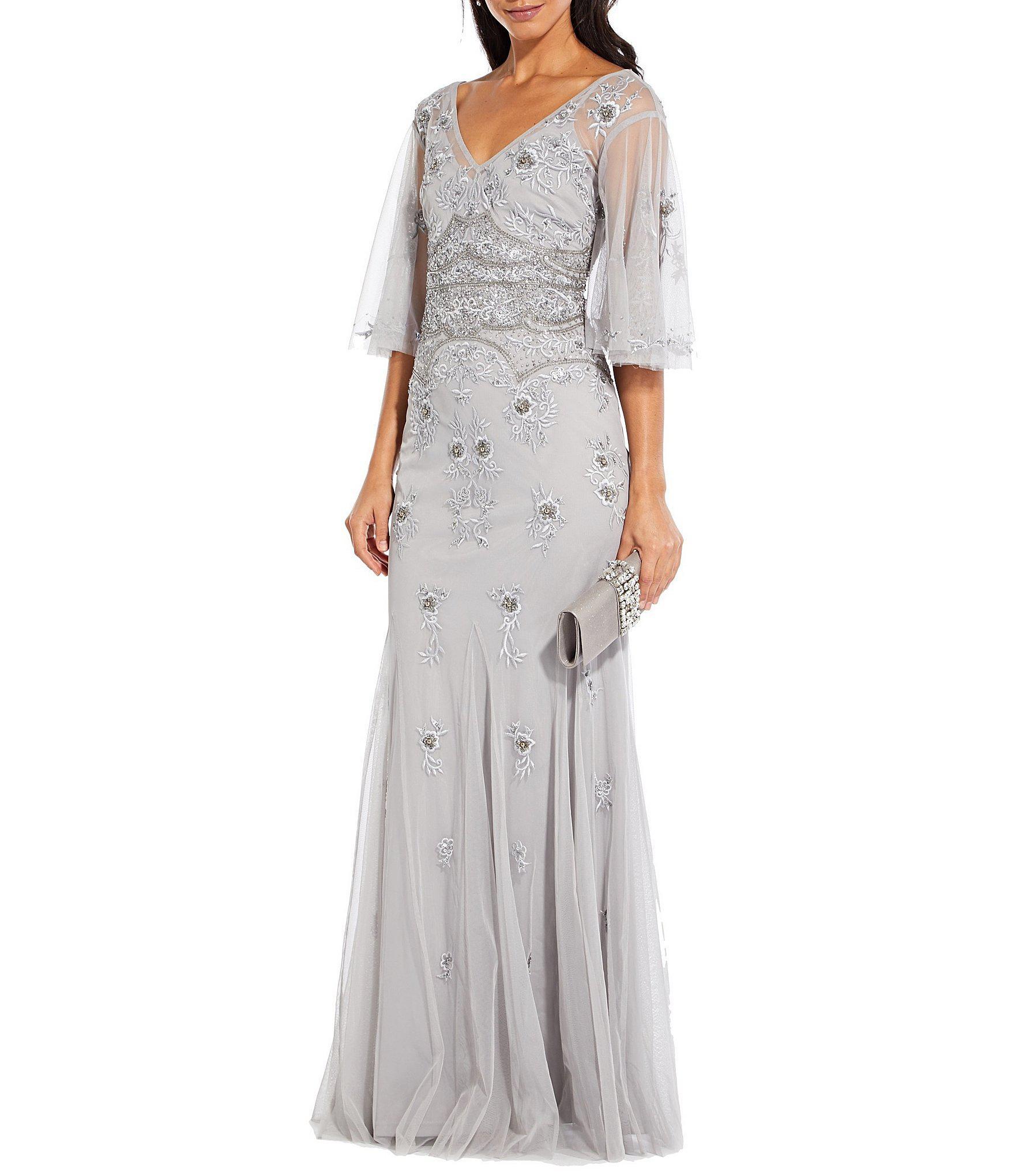 ede0af579437 Adrianna Papell V-neck Full Flutter Sleeve Beaded Gown in Metallic ...