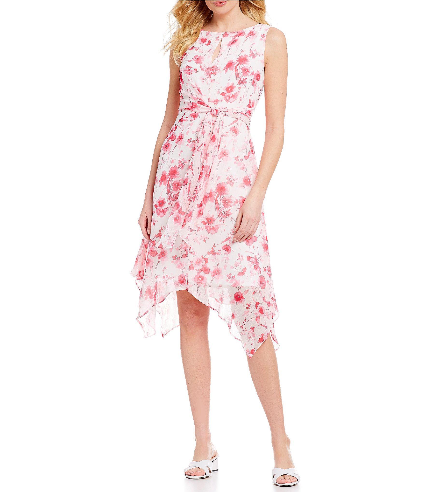 d6774bc4230 Karl Lagerfeld. Women s Pink Floral Print Chiffon Tie Waist Sharkbite Hem  Midi Dress
