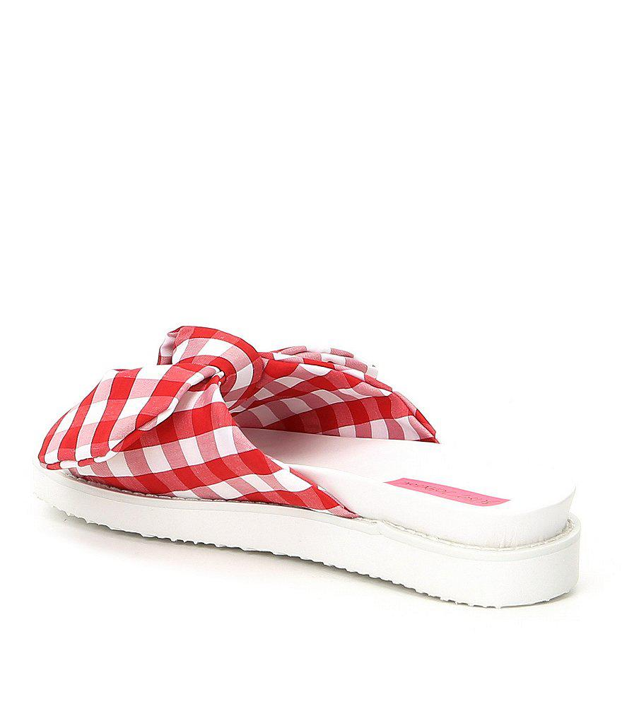June Gingham Bow Slide Sandals 96IeOl