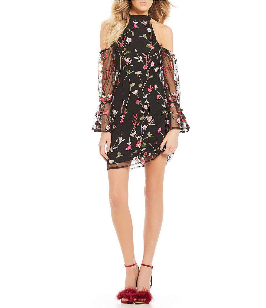 2cb10b85 Guess Cyndi Floral Embroidered Mesh Cold Shoulder Bell Sleeve Sheath ...