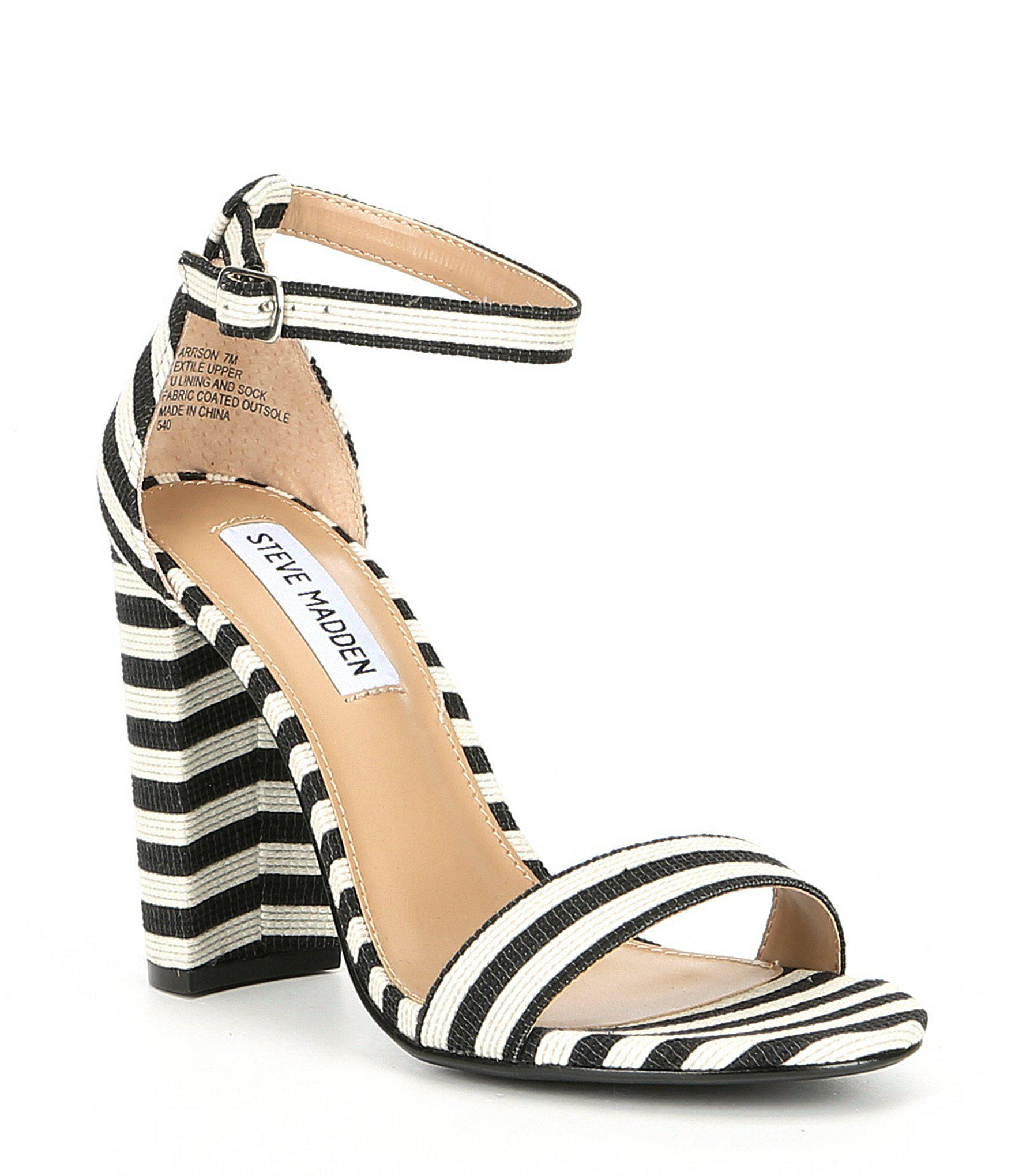 43a8df48df0 Steve Madden Black Carrson Ankle Strap Striped Block Heel Dress Sandals