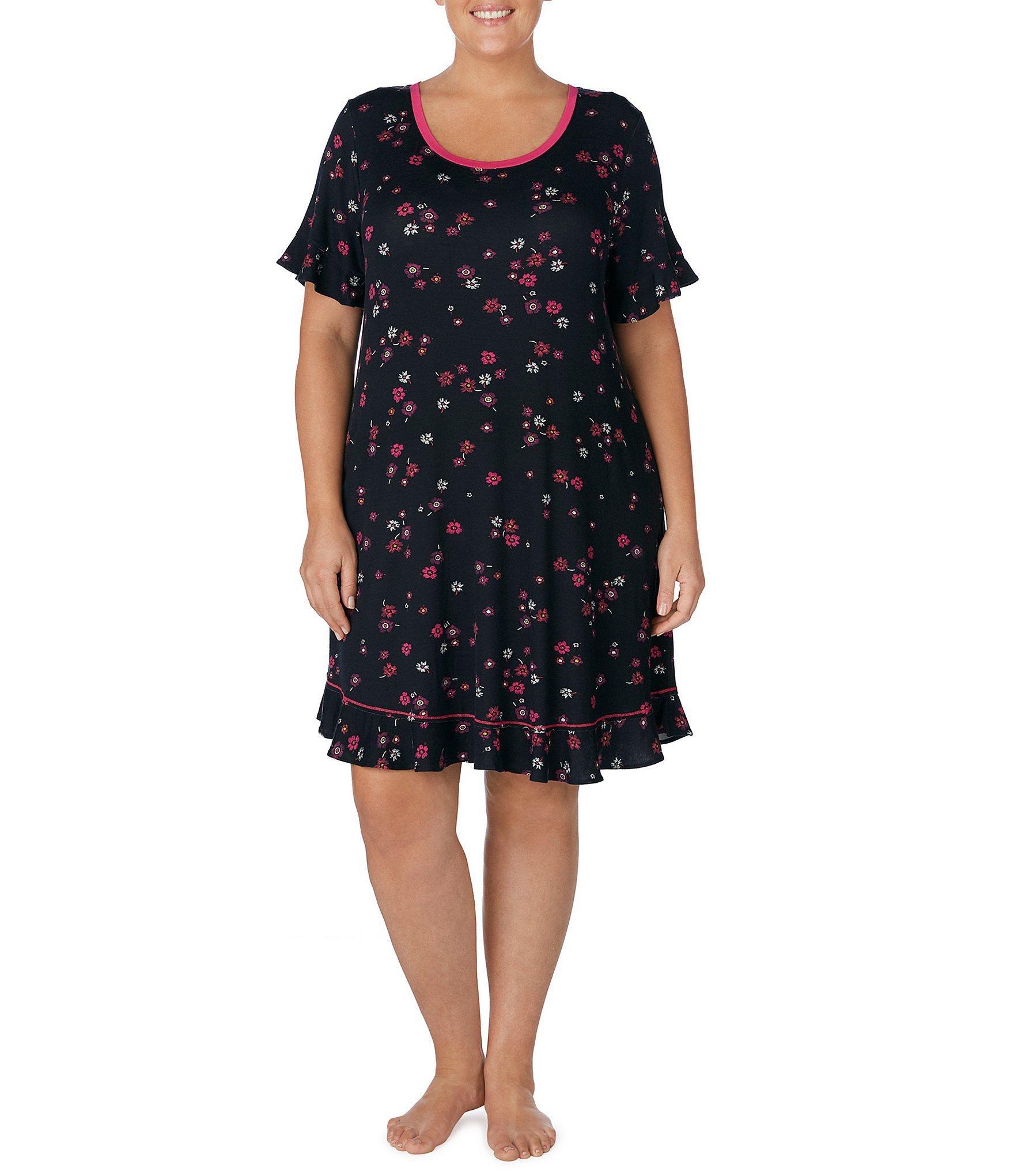 Kensie. Women s Black Plus Floral-printed Ruffle-trimmed Jersey Knit  Sleepshirt 14703ff3c