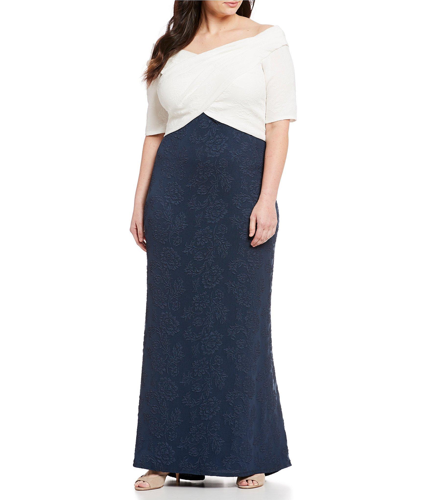 72eaf7a2ccd Lyst - Tadashi Shoji Plus Size Elbow Sleeve Crepe Two Tone Long Gown ...