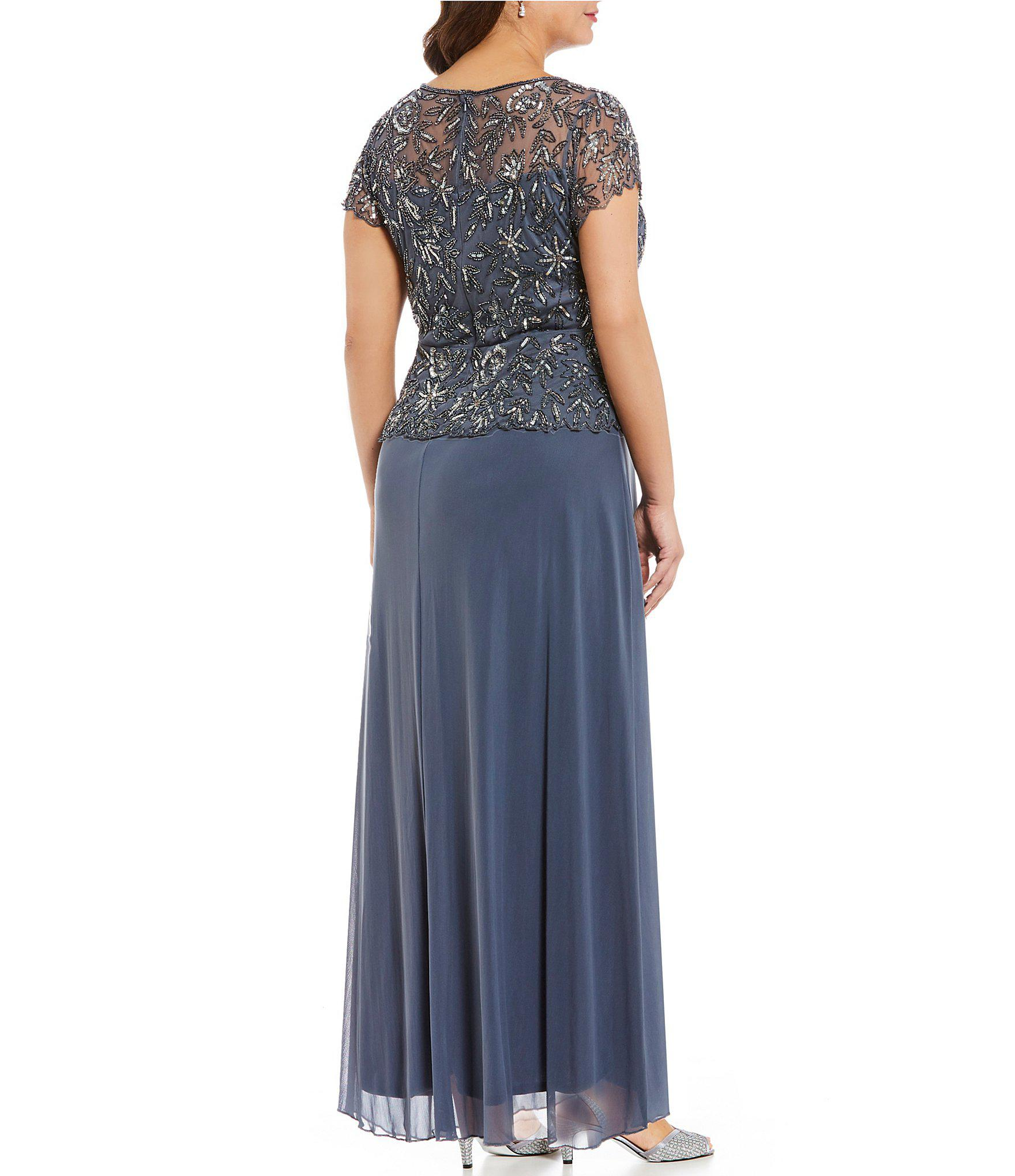 b963dc473f5 Lyst Pisarro Nights Plus Size Floral Beaded Mock 2 Piece Gown In Gray