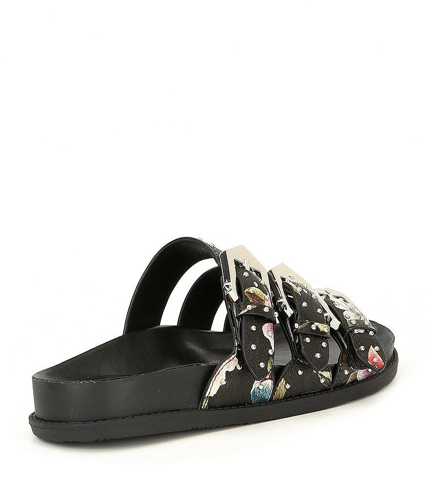 Axtin Floral Print Studded 3-Band Buckle Sandals