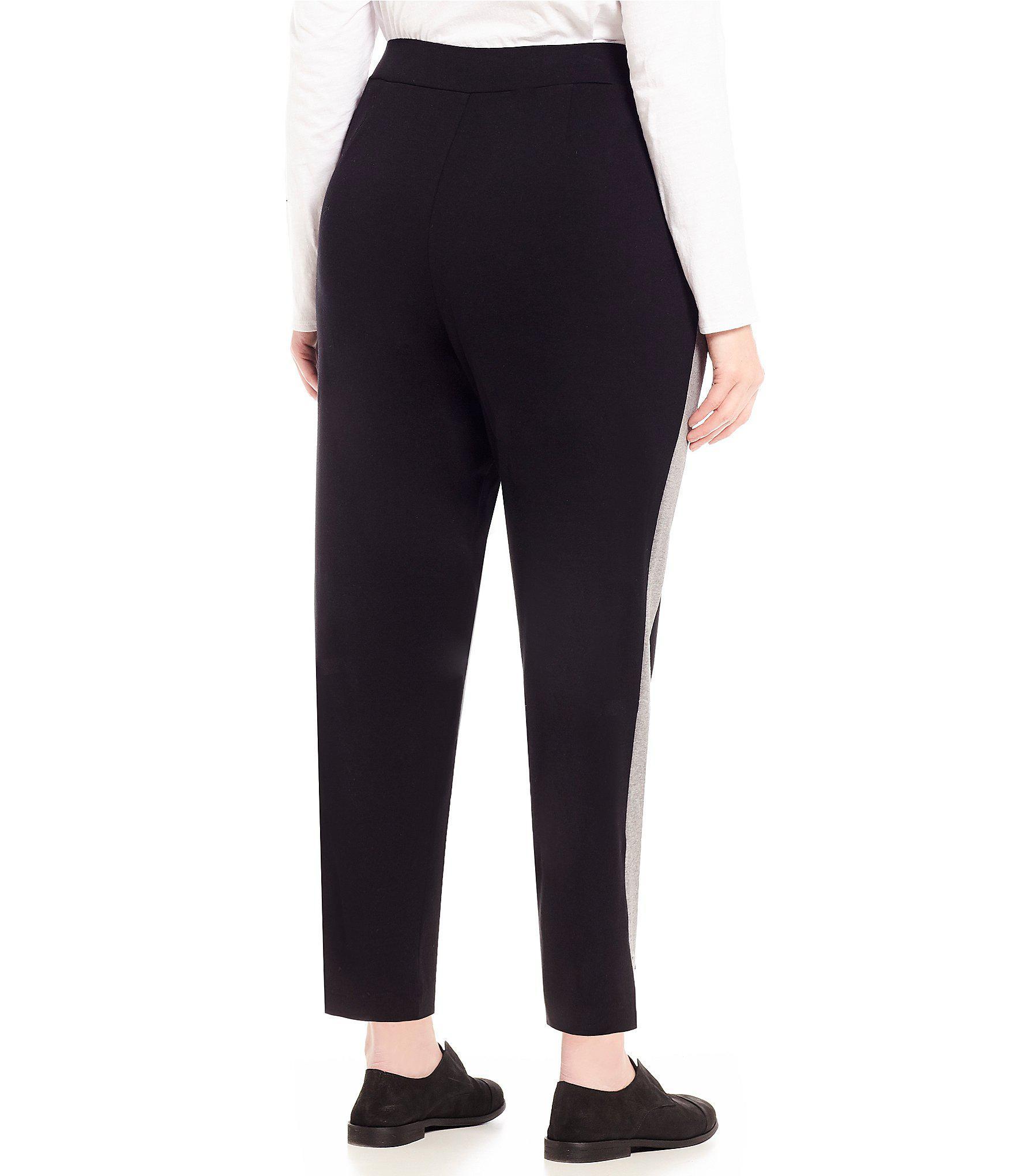ae04b7c39b4 Eileen Fisher - Black Plus Size Pull-on Side Vents Slim Pants - Lyst. View  fullscreen