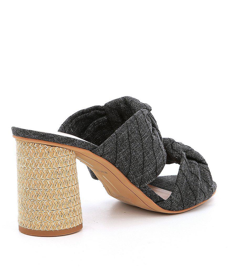 Jene Denim Double Knot Block Heel Sandals 0EqFp3CH