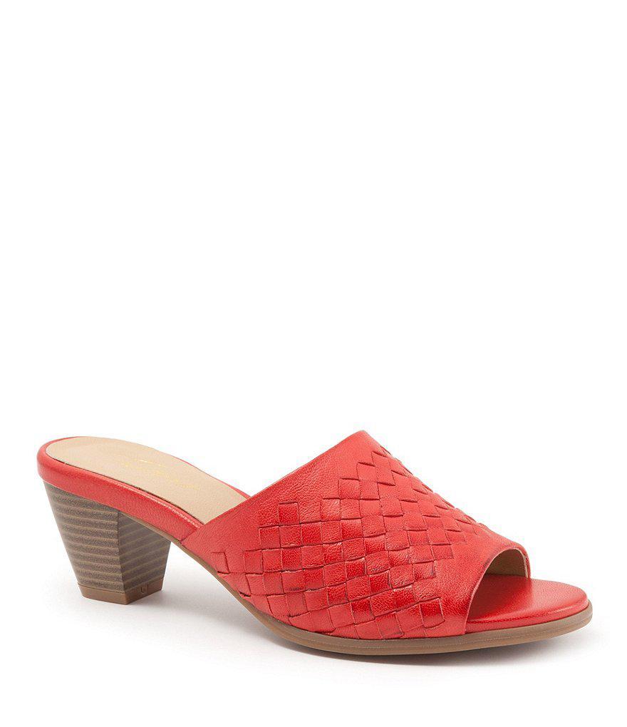Corsa Woven Leather Block Heel Slide Sandals w8nhdrbdh