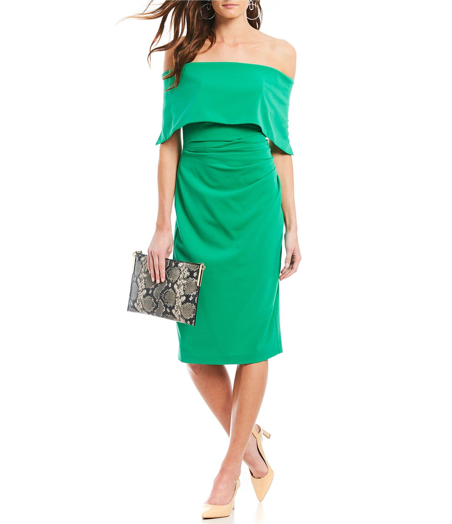 c2e37ab249a Vince Camuto Off-the-shoulder Popover Midi Dress in Green - Lyst