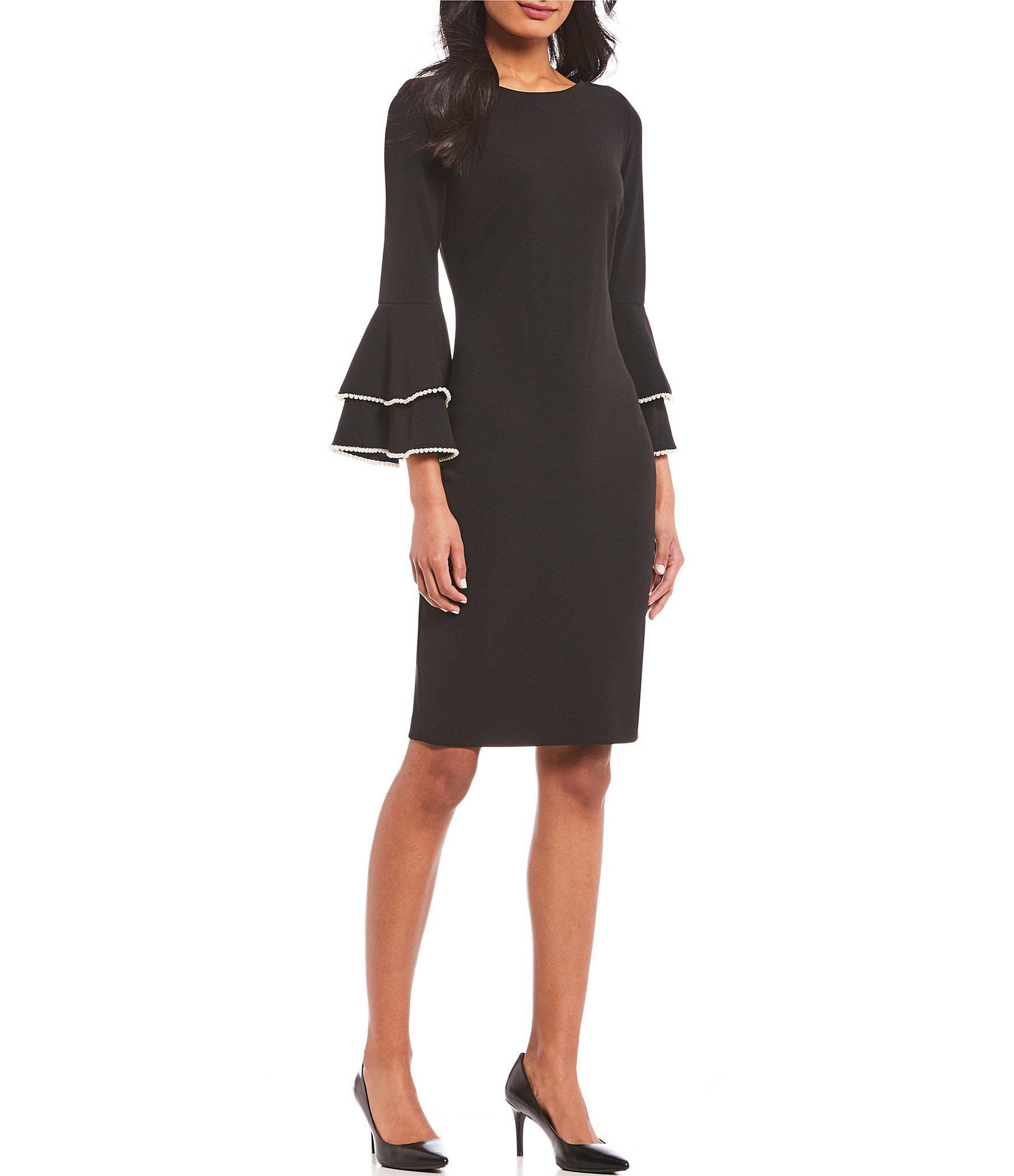 795dd5bedbe Calvin Klein. Women's Black 3/4 Sleeve Double Tiered Bell Sleeve Sheath  Dress