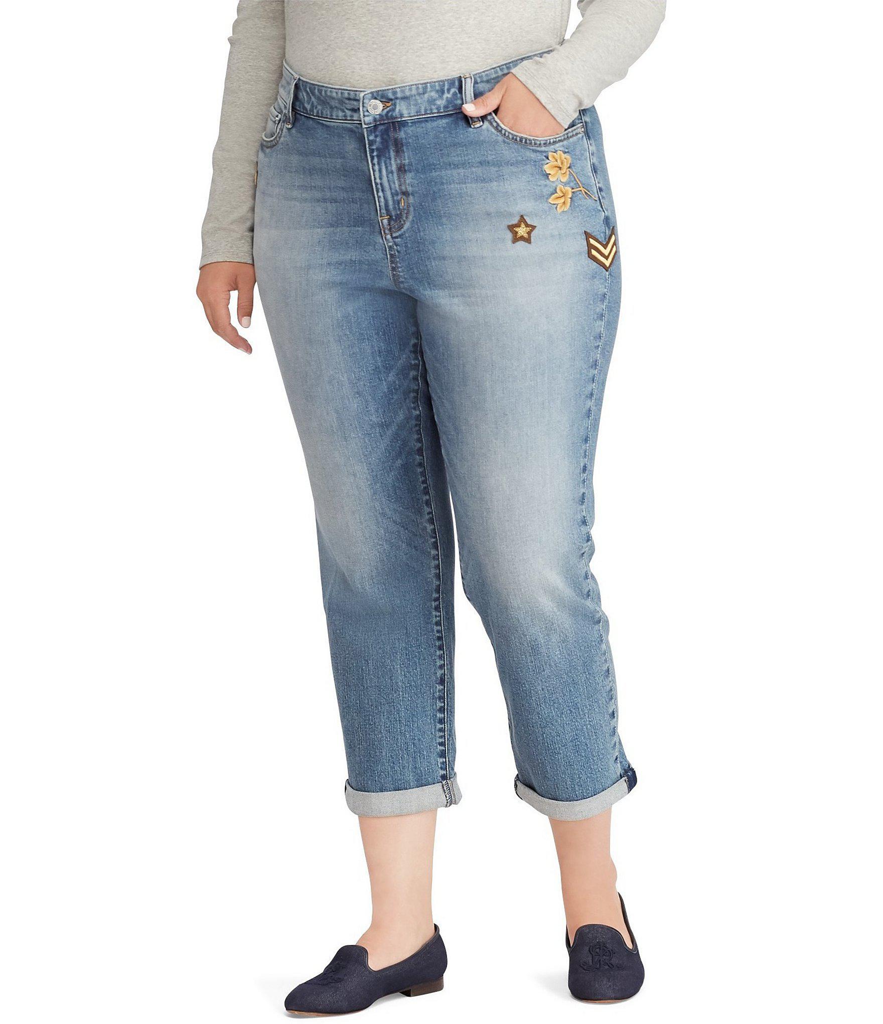 77ba383dc1 Lauren by Ralph Lauren Blue Plus Size Premier Estate Crop Jean