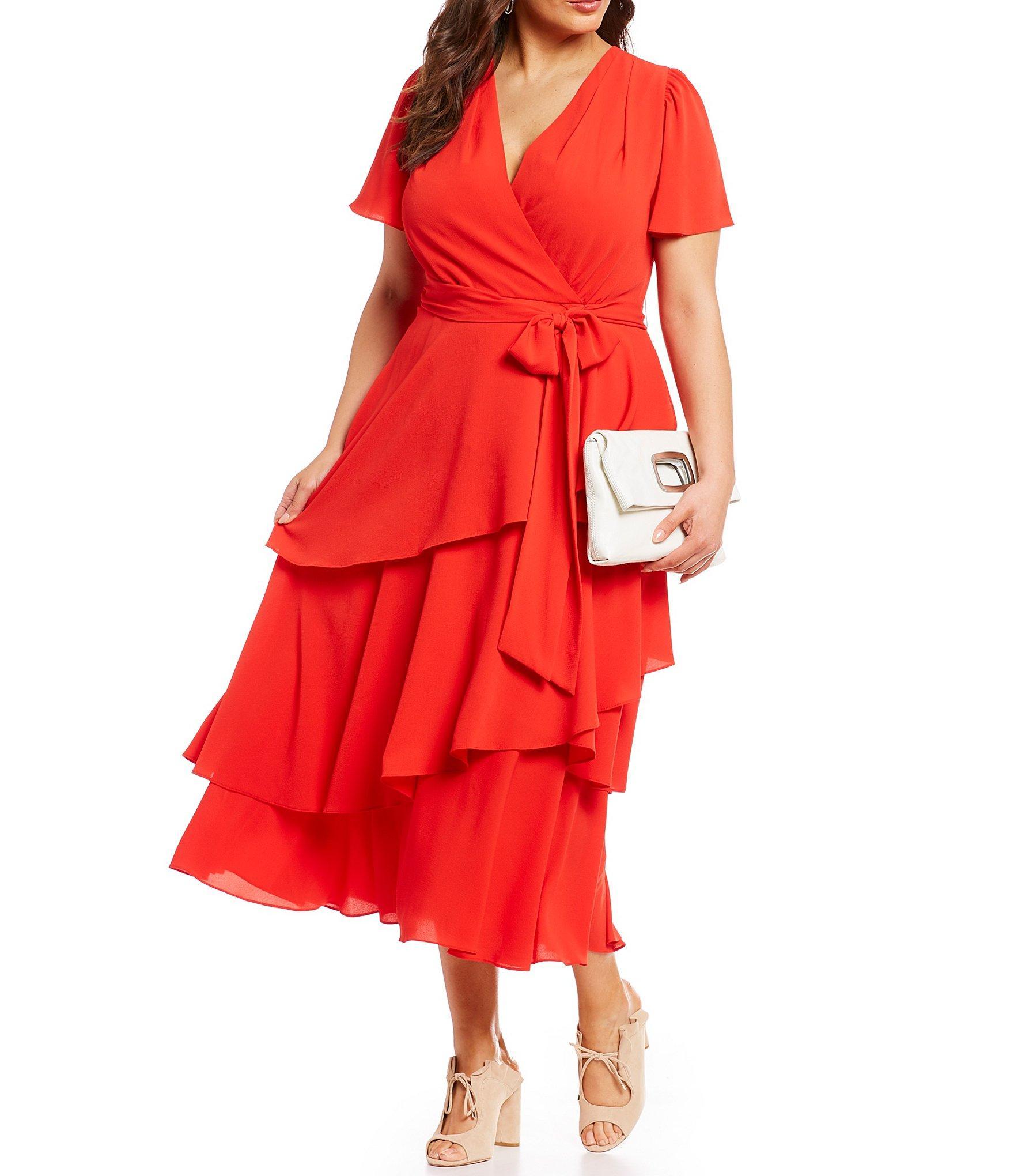ce9f1c96aab6 Tahari. Women's Plus Size Short Sleeve V-neck Tie Waist Tiered Crepe Midi  Dress