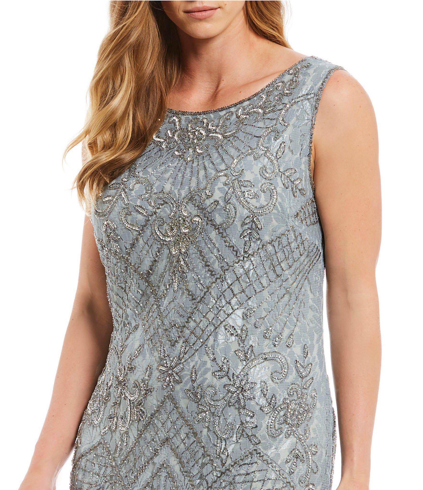 95e6b64fc35 Pisarro Nights Plus Size Sleeveless Beaded Lace Gown in Metallic - Lyst