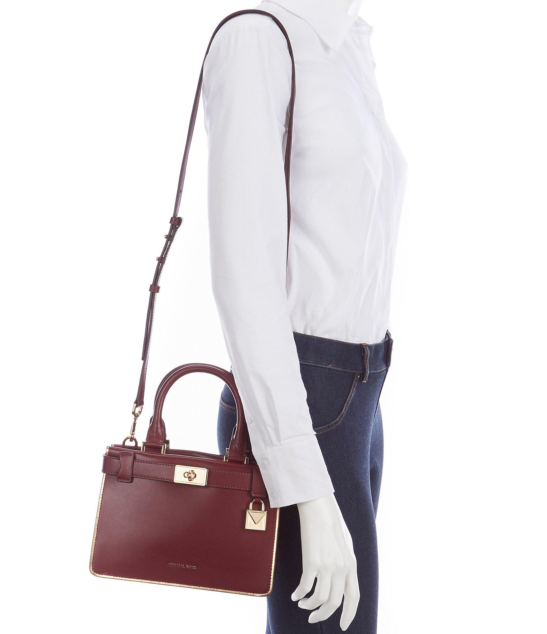 c9edf14cdd4f4d MICHAEL Michael Kors Tatiana Leather Turn Lock Mini Satchel Bag - Lyst