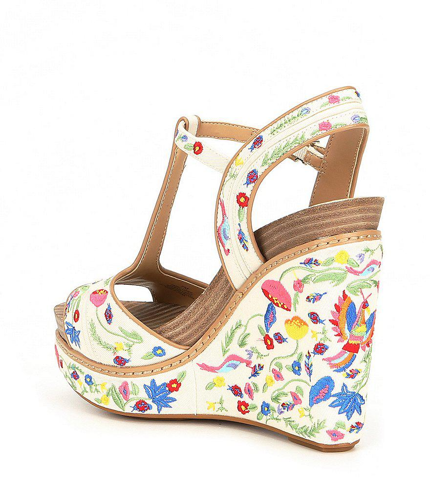 1587a0dbdec Gianni Bini Multicolor Sarritahh Floral Embroidered Wedges